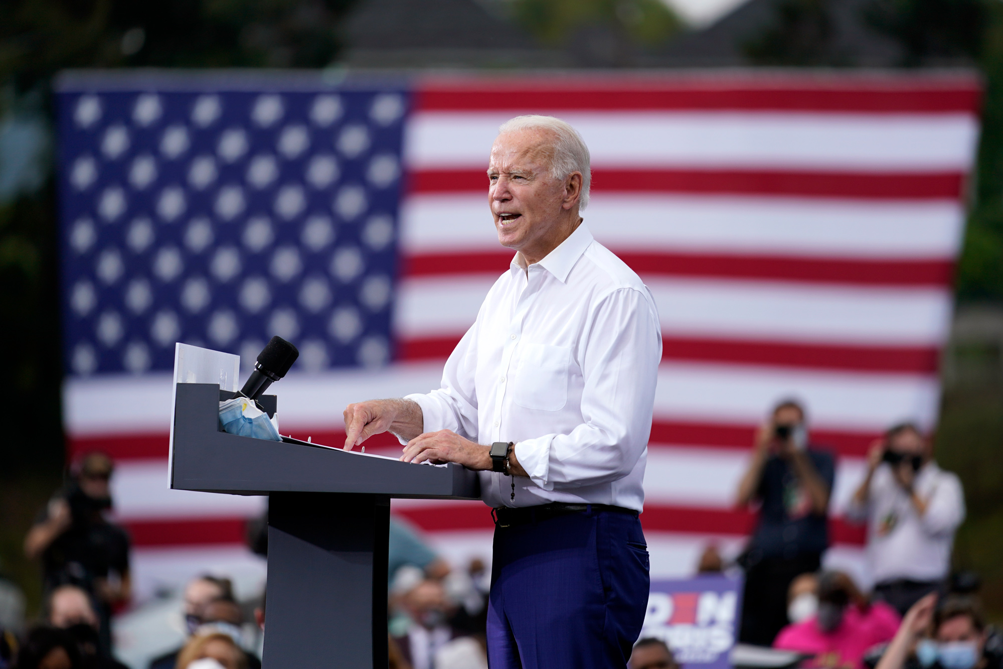 Democratic presidential candidate former Vice President Joe Biden speaks at a drive-in rally at Cellairis Amphitheatre in Atlanta on October 27.