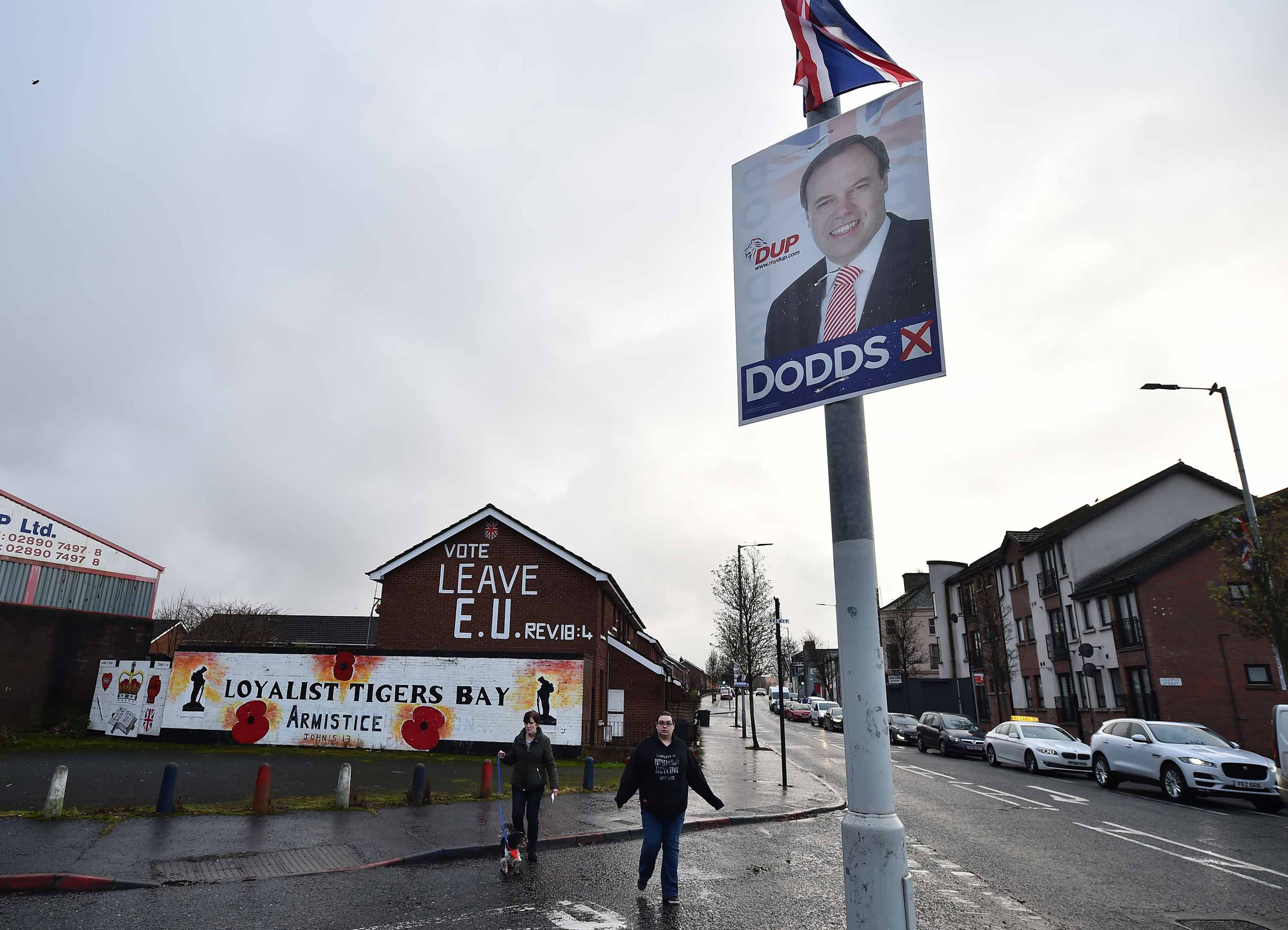 An election poster features Nigel Dodds in north Belfast on December 12. Photo: Charles McQuillan/Getty Images