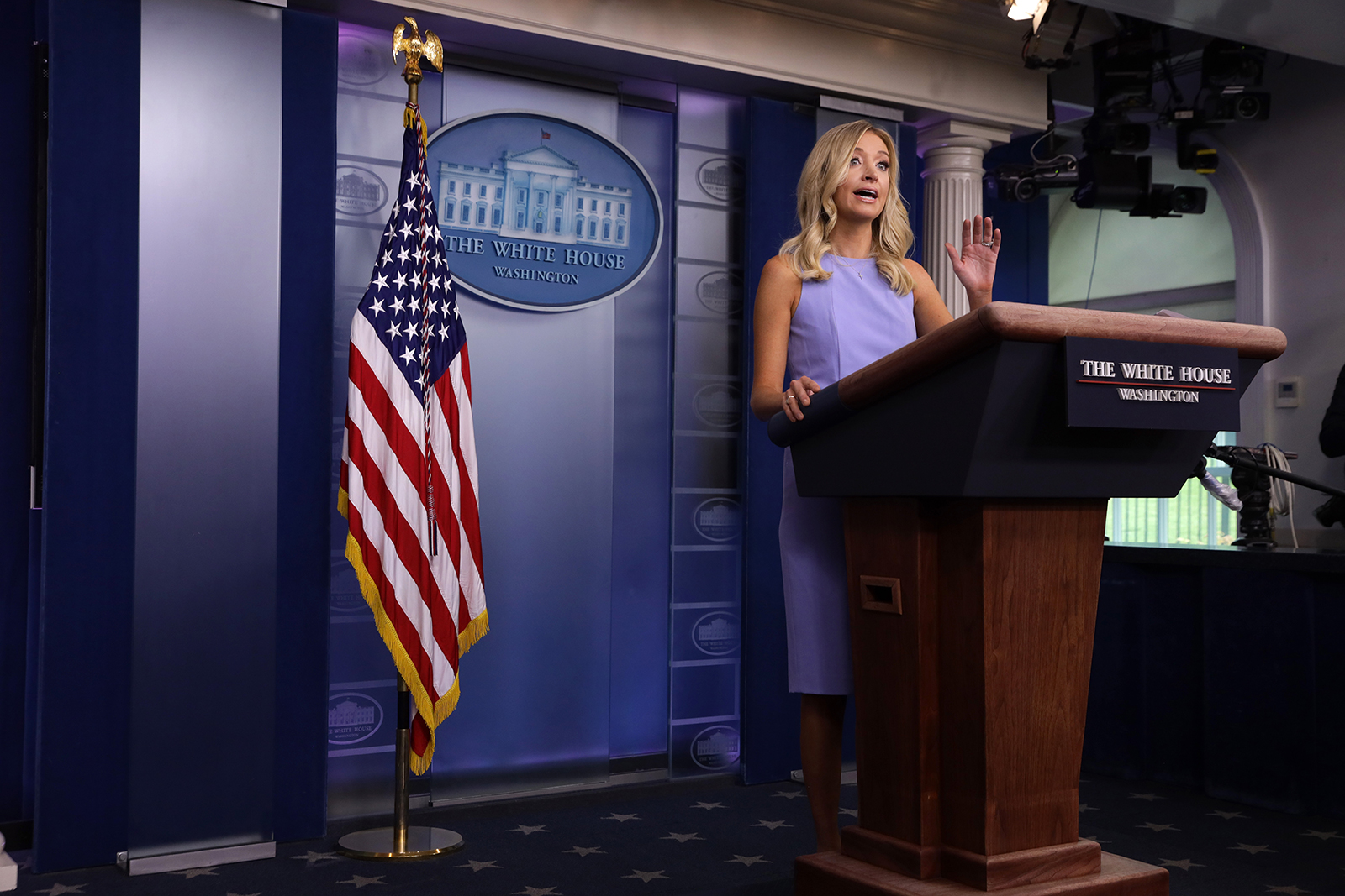 White House Press Secretary Kayleigh McEnany speaks during a news briefing at the White House in Washington, on June 17.