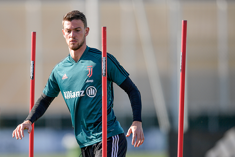 Juventus player Daniele Rugani trains at JTC on March 10, in Turin, Italy.