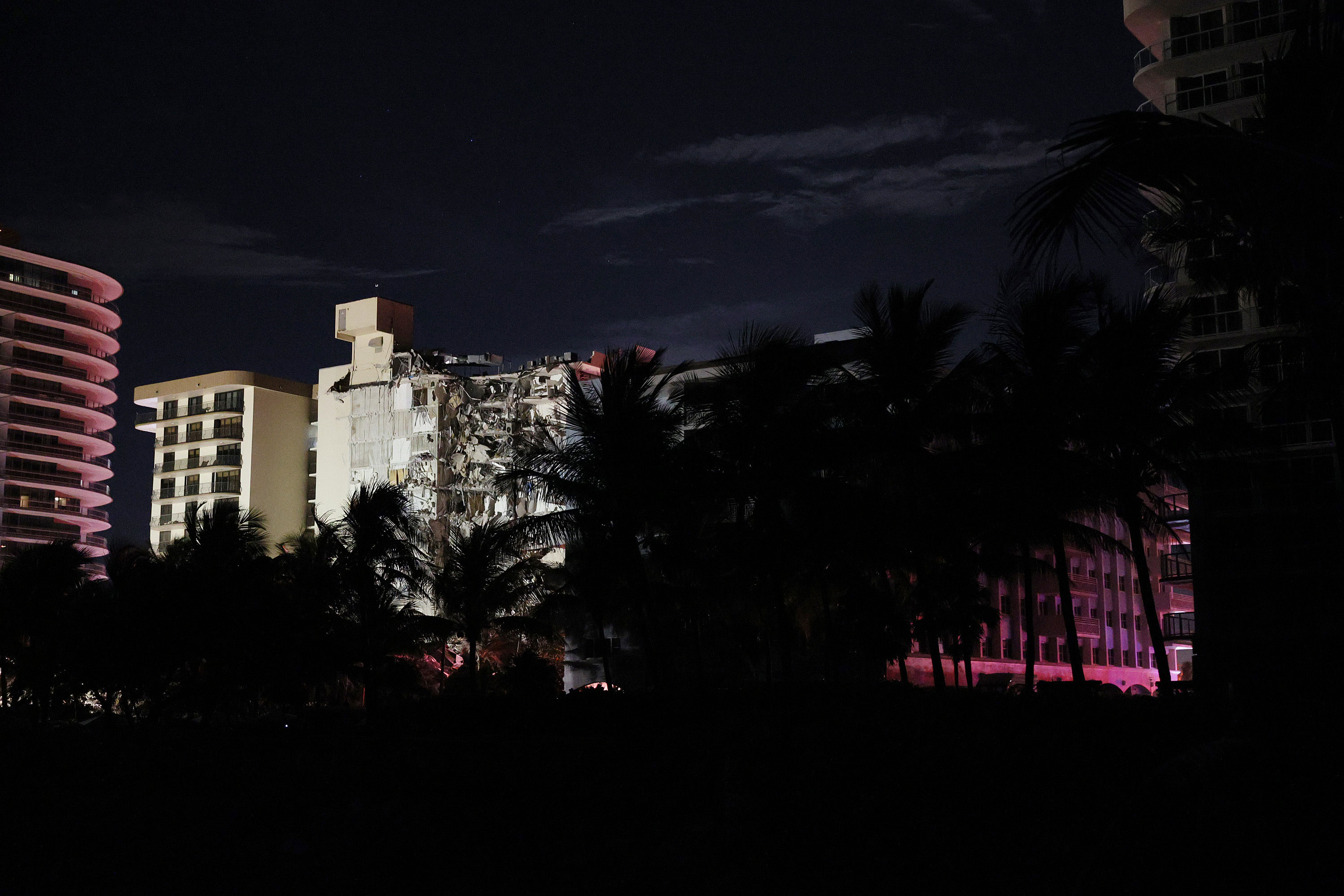 Champlain Towers South condo is seen following a partial collapse of the building on June 24 in Surfside, Florida.