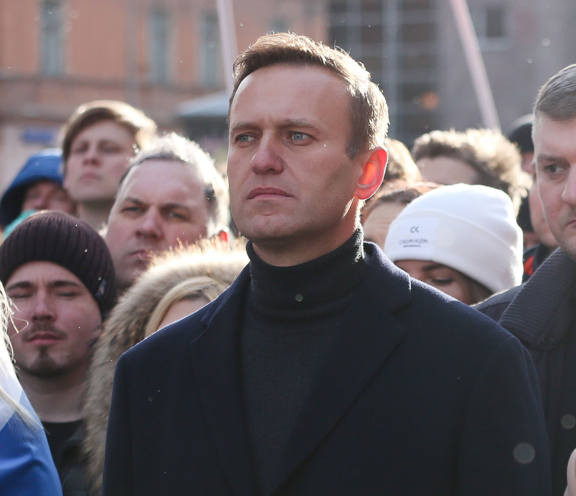 Alexey Navalny, Russian opposition leader, walks with demonstrators during a rally in Moscow on February 29, 2019.