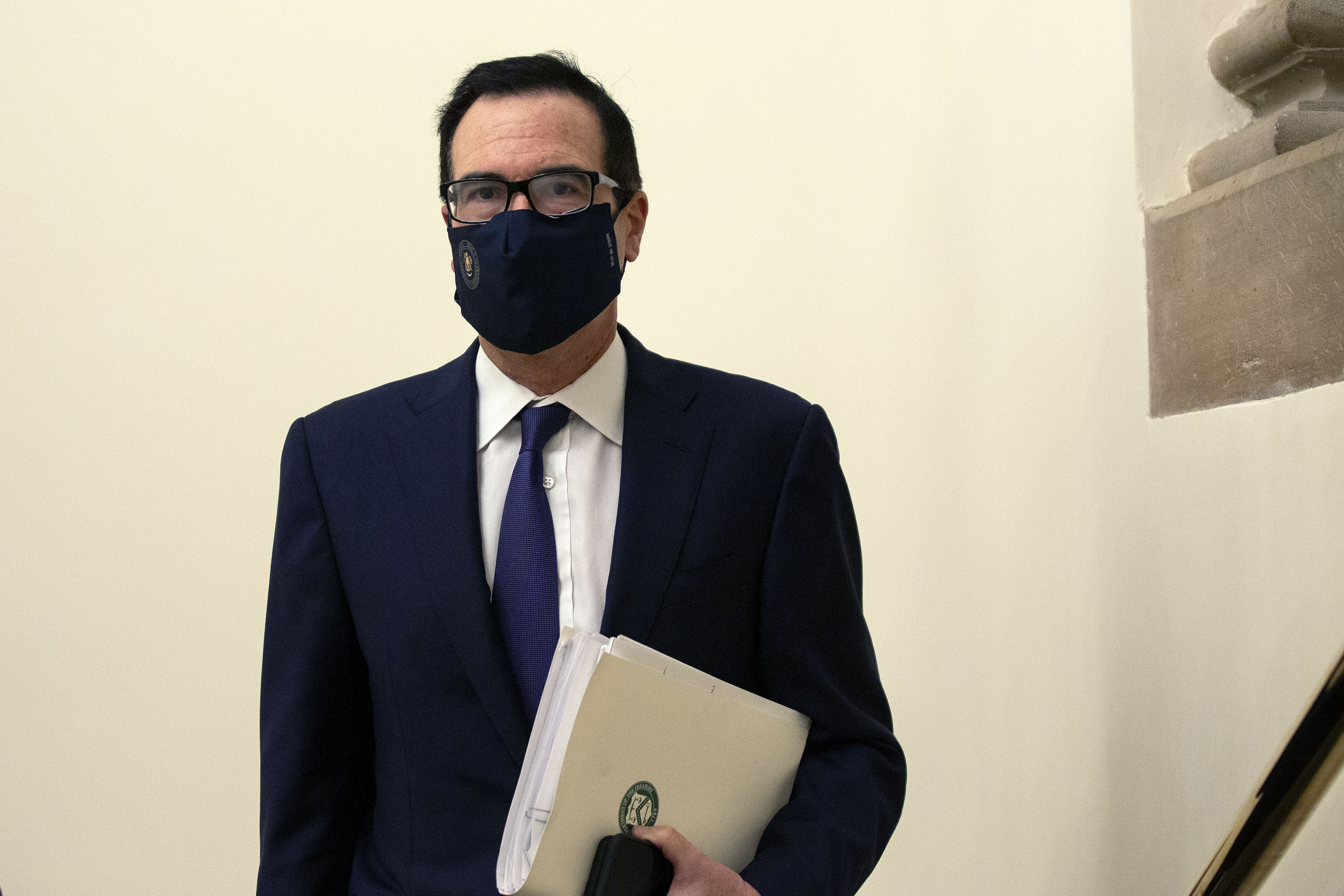 Steve Mnuchin, Treasury secretary, arrives for a meeting at the Capitol on July 28, 2020.