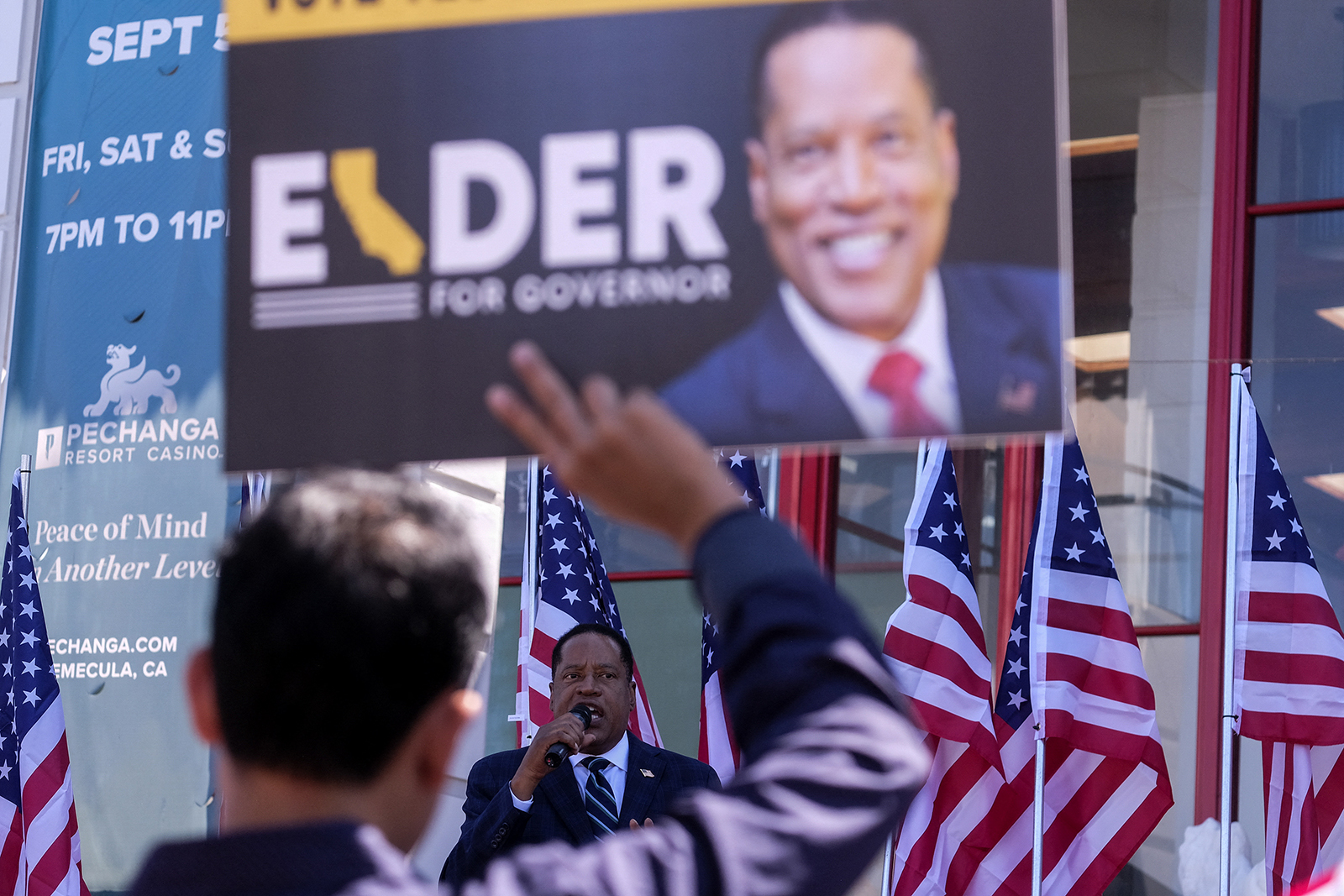 Republican gubernatorial candidate Larry Elder speaks to supporters during an Asian Rally for Yes Recall at the Asian Garden Mall in Little Saigon, Westminster, California, on September 4.