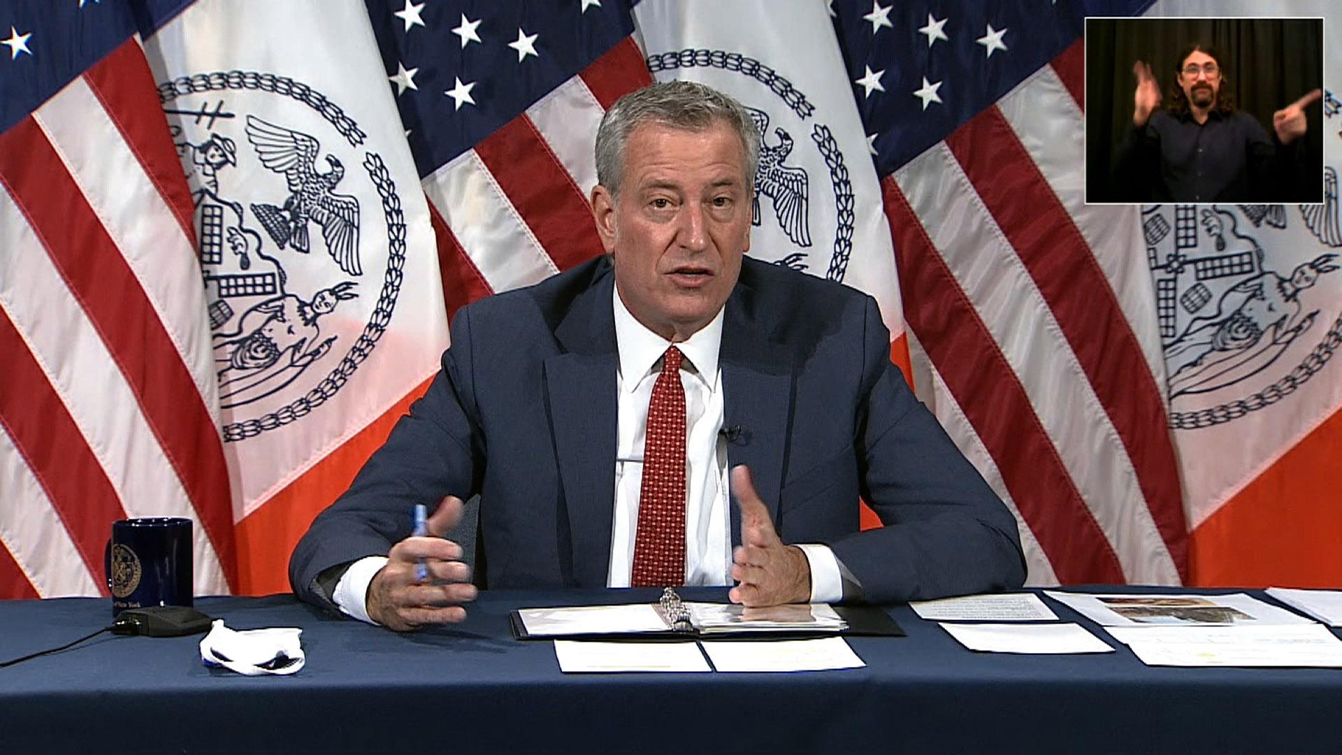 New York City Mayor Bill de Blasio speaks during a press conference in New York on November 19.