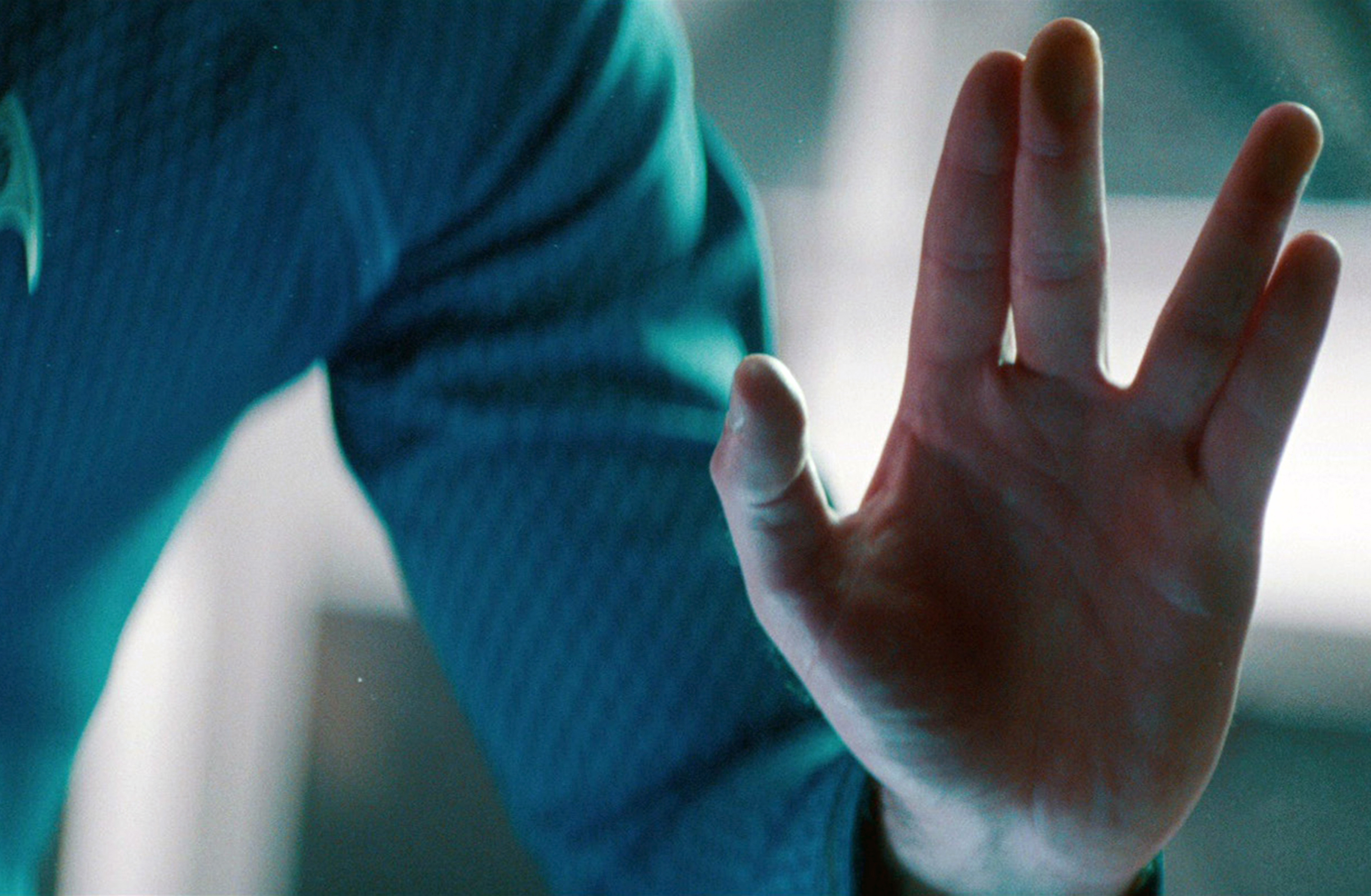 "Zachary Quinto as Commander Spock makes the Vulcan salute in the 2013 movie ""Star Trek: Into Darkness."""