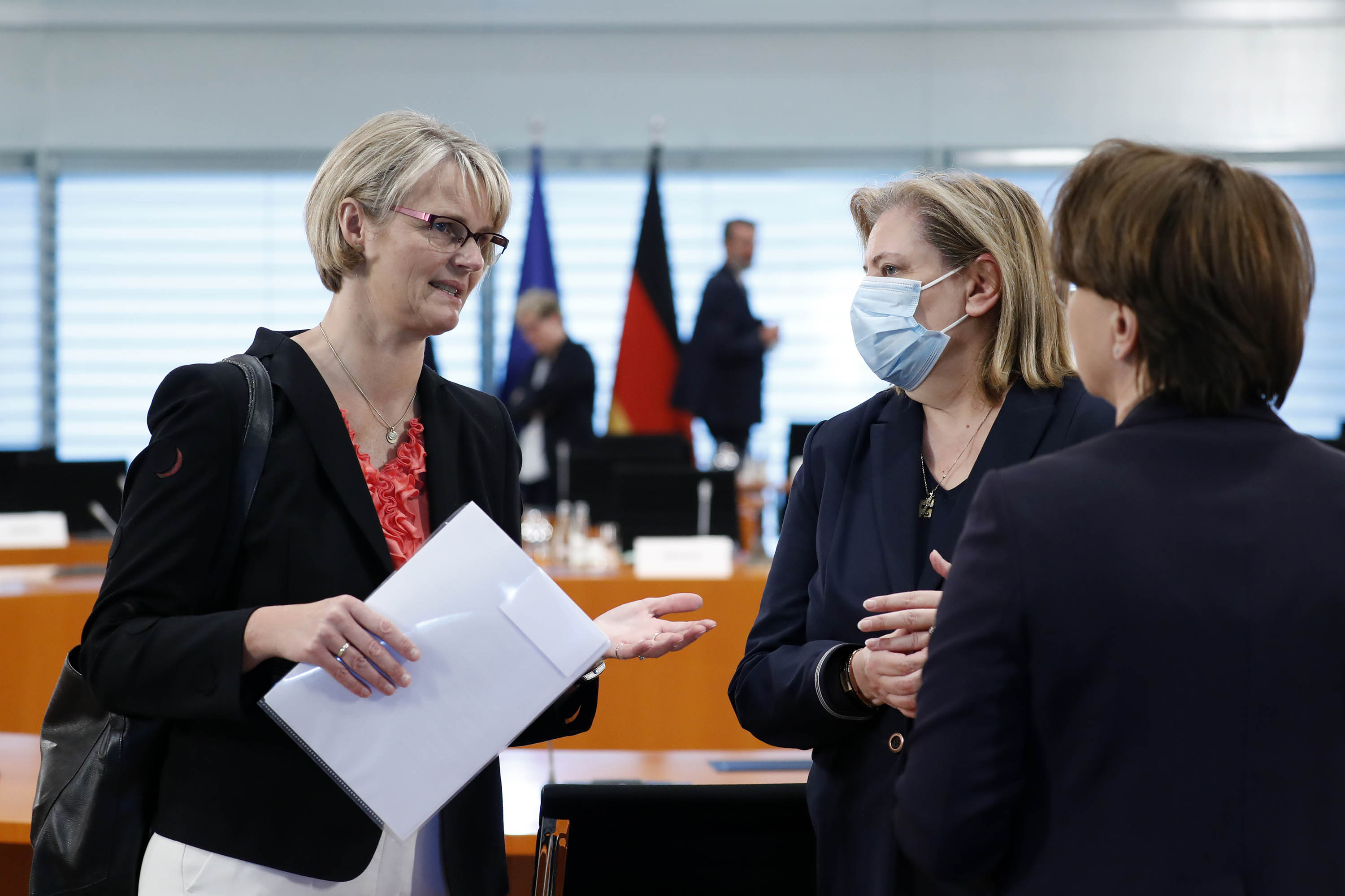 Germany's minister for research Anja Karliczek, left, attends a cabinet meeting at the German chancellery in Berlin on July 29.