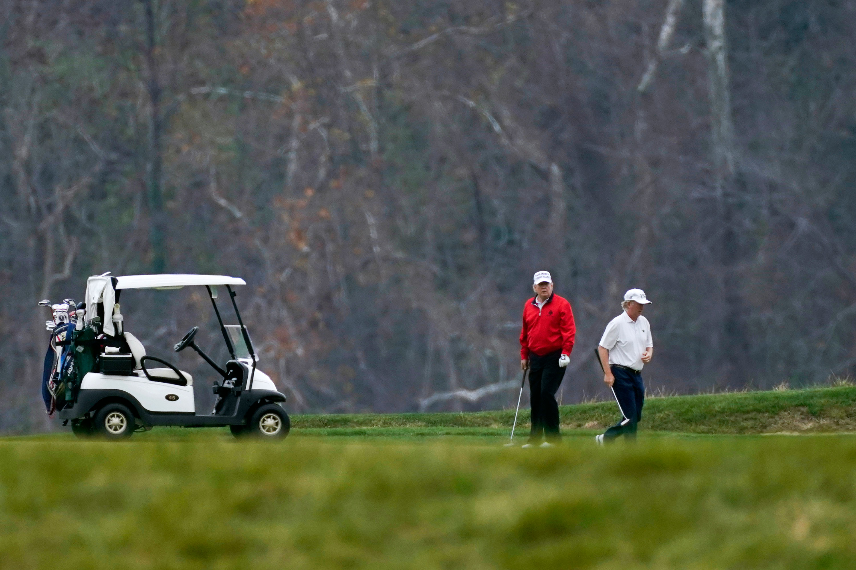 President Donald Trump plays golf at Trump National Golf Club in Sterling, Virginia on Saturday, November 21.