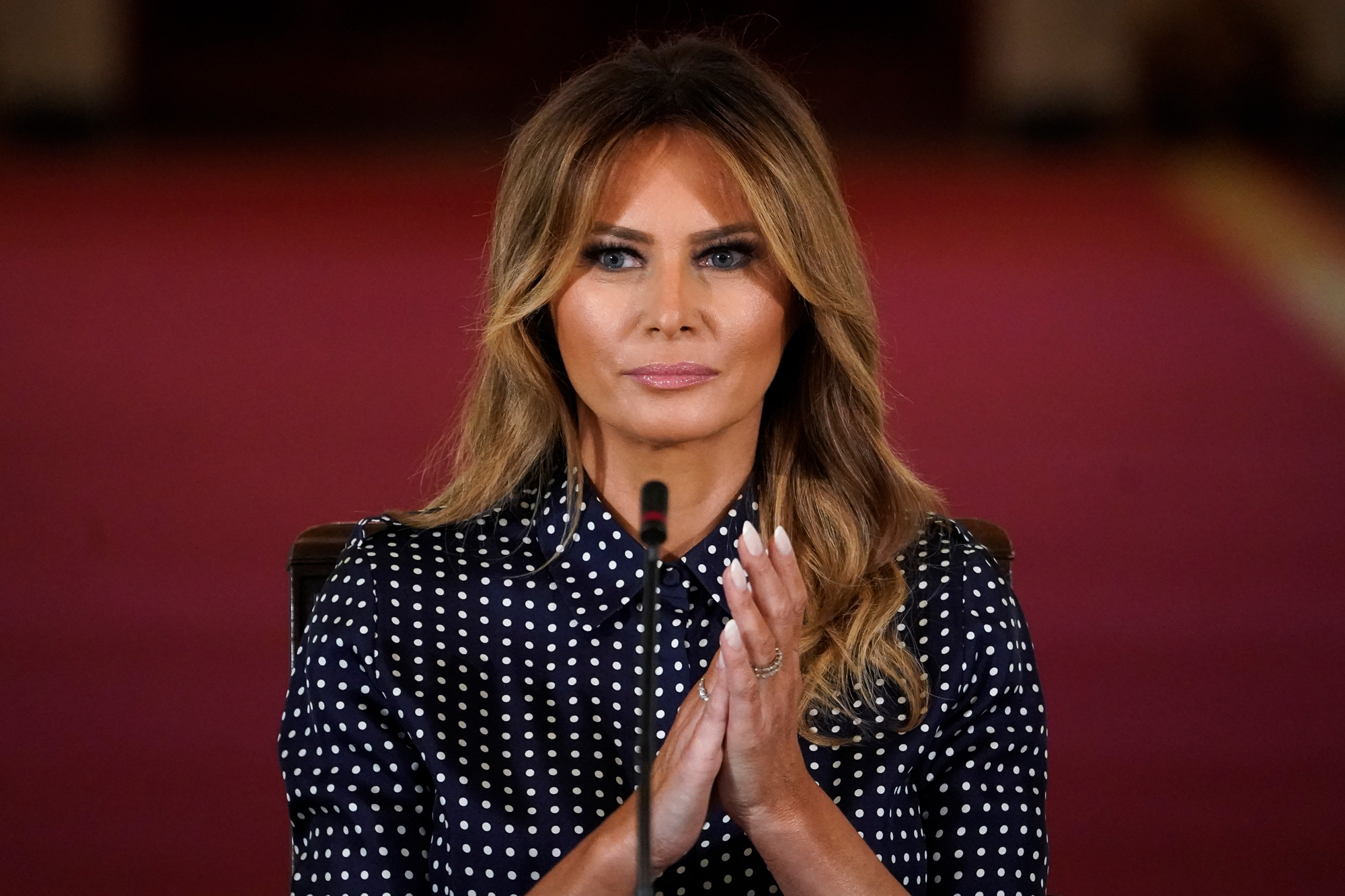 First Lady Melania Trump attends an event to mark National Alcohol and Drug Addiction Recovery Month in the East Room of the White House on September 3 in Washington, DC.