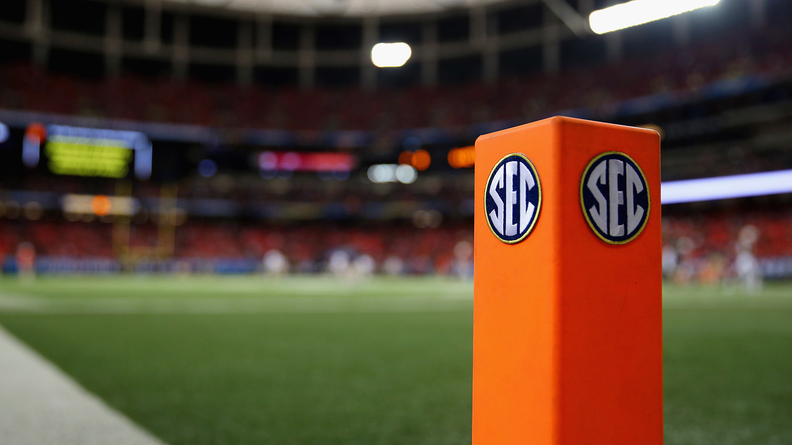 An 'SEC' logo is seen on an end zone pylon before the Missouri Tigers take on the Auburn Tigers during the SEC Championship Game at Georgia Dome on December 7, 2013 in Atlanta, Georgia.