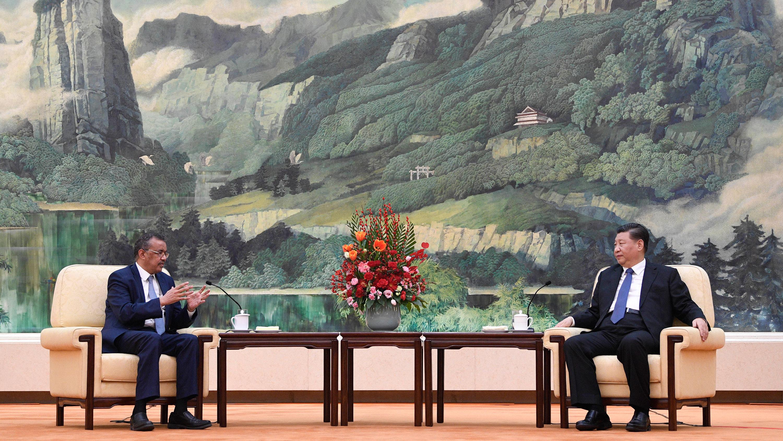 World Health Organization director general Tedros Adhanom Ghebreyesus meets with Chinese President Xi Jinping in Beijing.