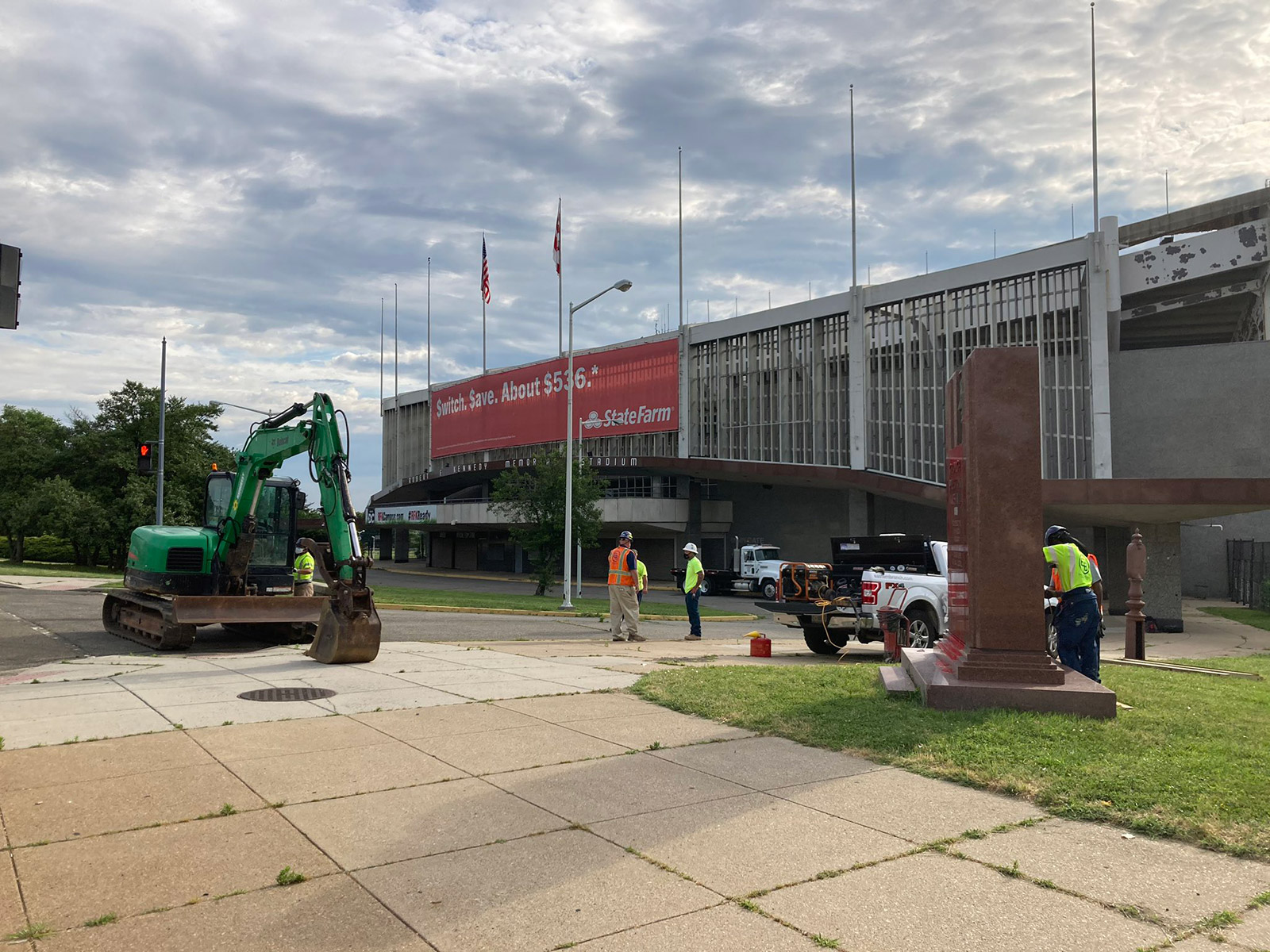 The George Preston Marshall Monument is removed from outside RFK Stadium in Washington, DC, on Friday.