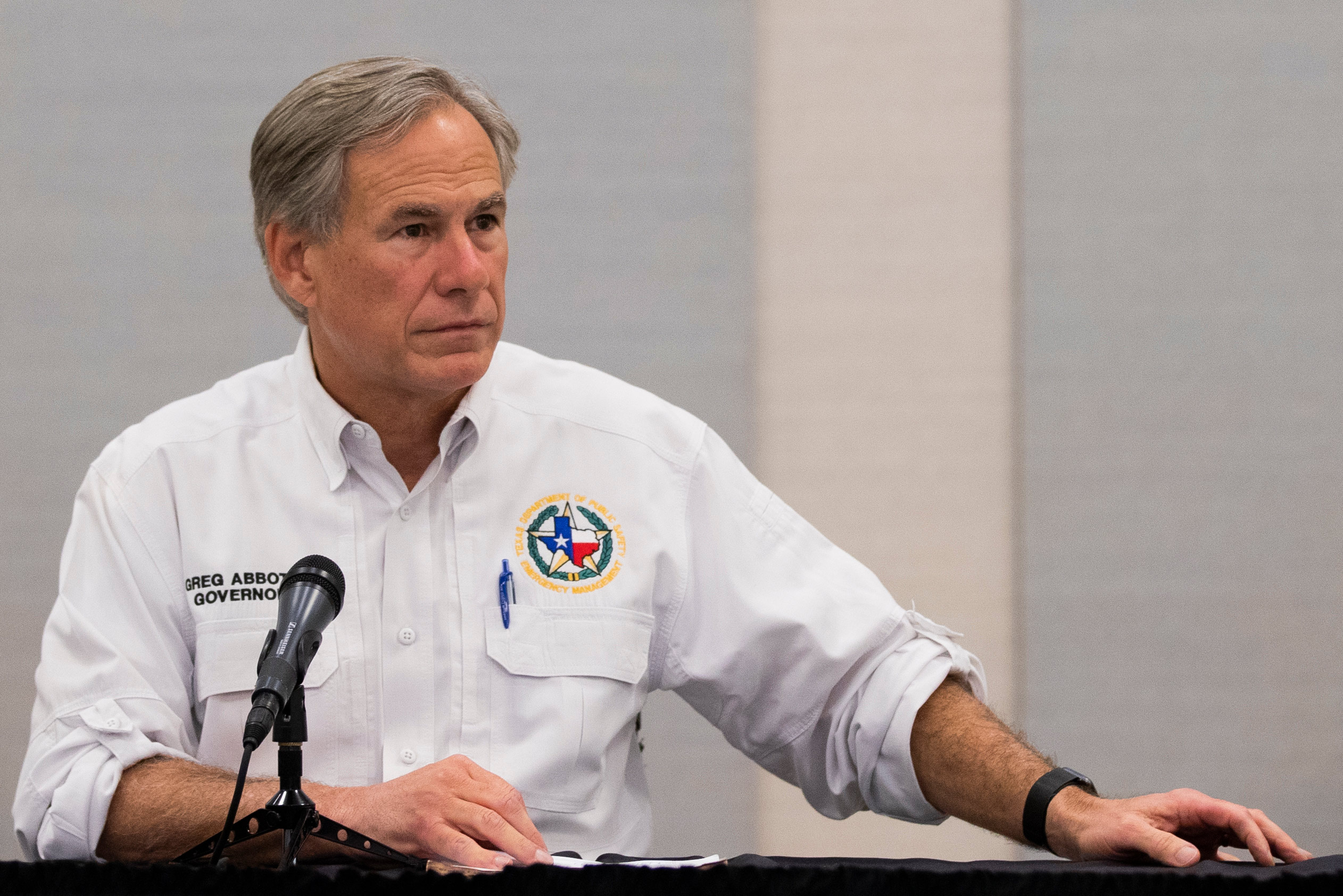 Texas Gov. Greg Abbott visits Lake Jackson, Texas on September 29.