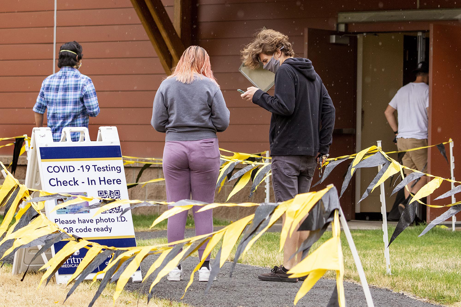 University of Idaho students line up for a Covid-19 test on Wednesday, August 13, outside the Student Recreation Center in Moscow, Idaho.