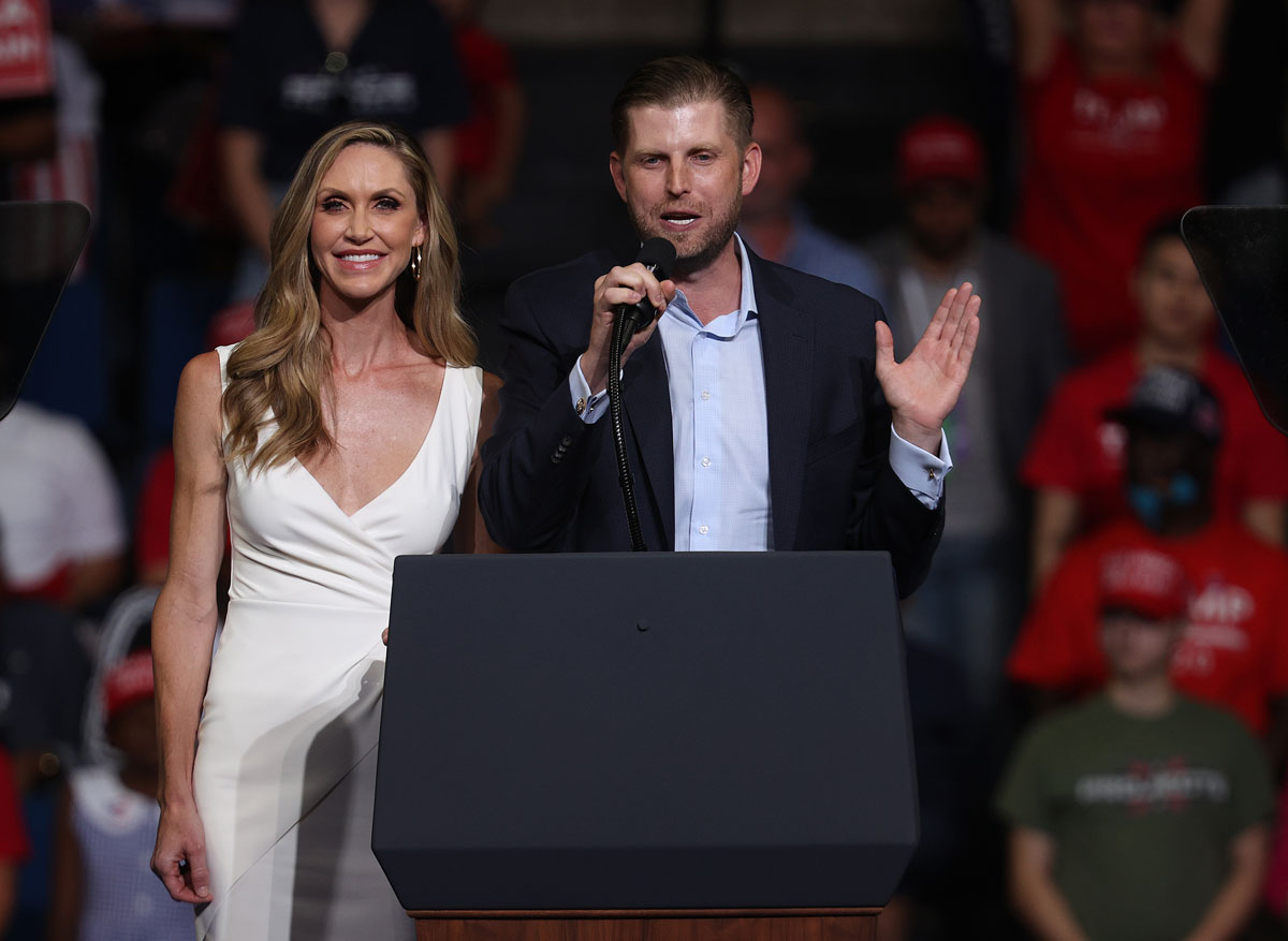 Eric Trump and his wife Lara Trump address the crowd at a campaign rally for President Donald Trump in Tulsa, Oklahoma, on June 20.