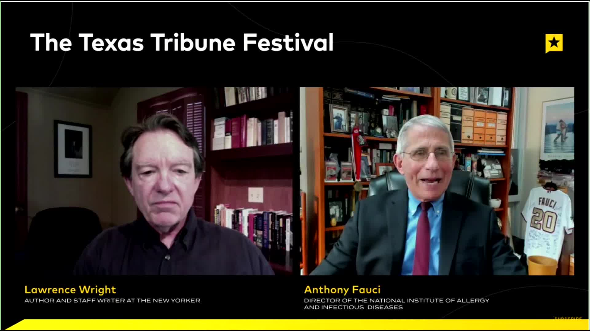 Lawrence Wright, staff writer at the New Yorker, speaks to Dr. Anthony Fauci during the Texas Tribune Festival.