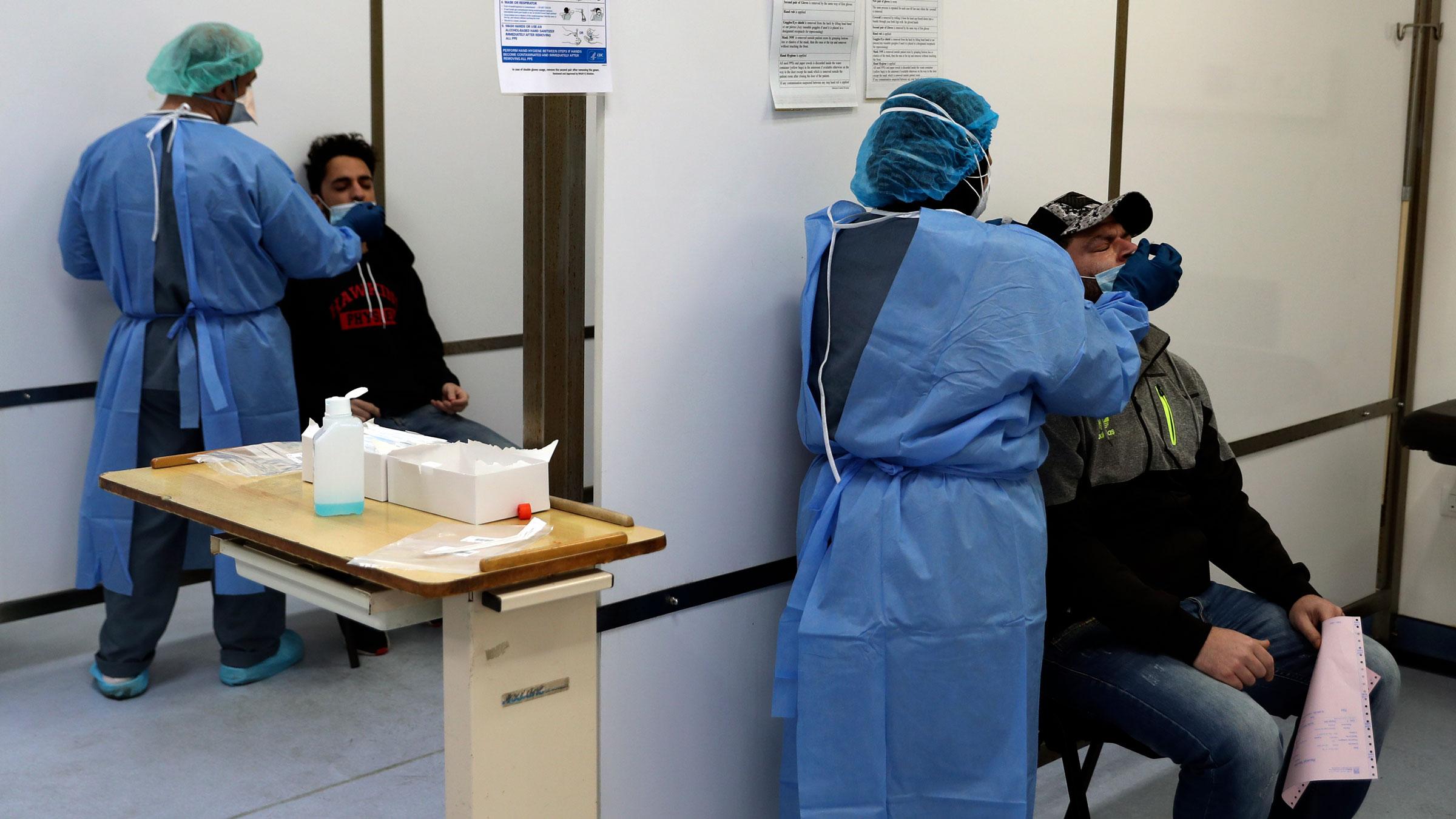 Medical staff test people for Covid-19 at the Rafik Hariri University Hospital in Beirut, Lebanon, on January 11.