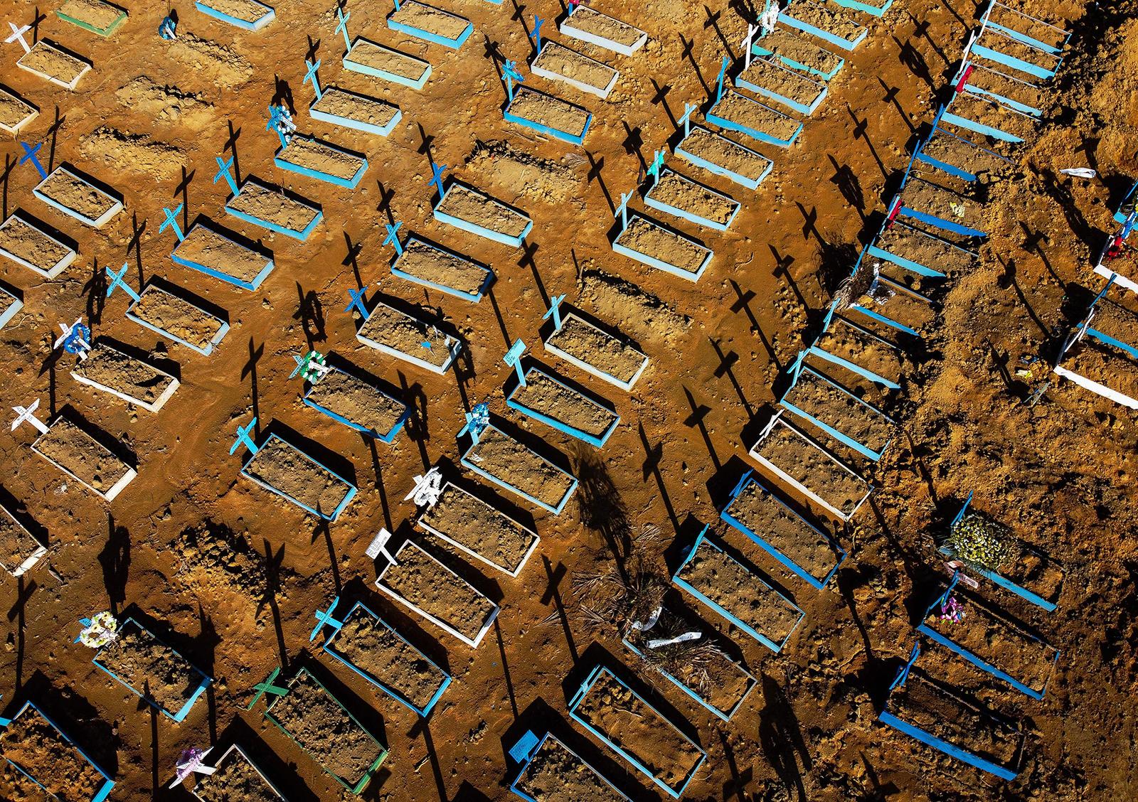 Aerial view showing graves in the Nossa Senhora Aparecida cemetery in Manaus, Brazil on June 21.
