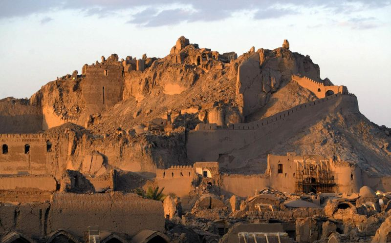 The mud brick citadel of the ancient silk road city of Bam, one of the wonders of Iran's heritage. The historic 2,000-year-old citadel was almost completely destroyed in a 2003 earthquake that killed 26,000.