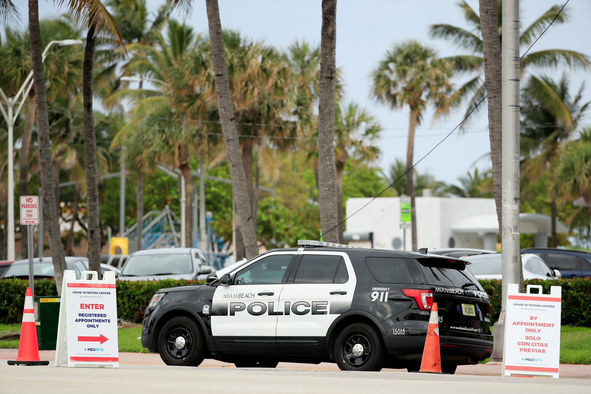 A Miami Beach Police patrol vehicle is parked on April 5 in Miami Beach, Florida.