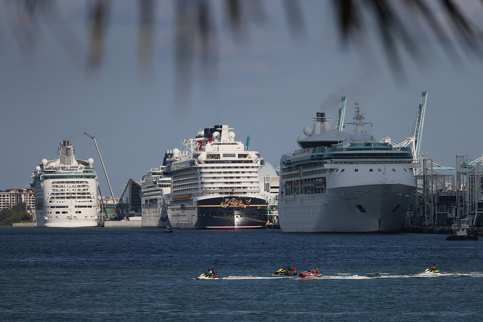Cruise ships dock at PortMiami in Miami, Florida, on May 26.
