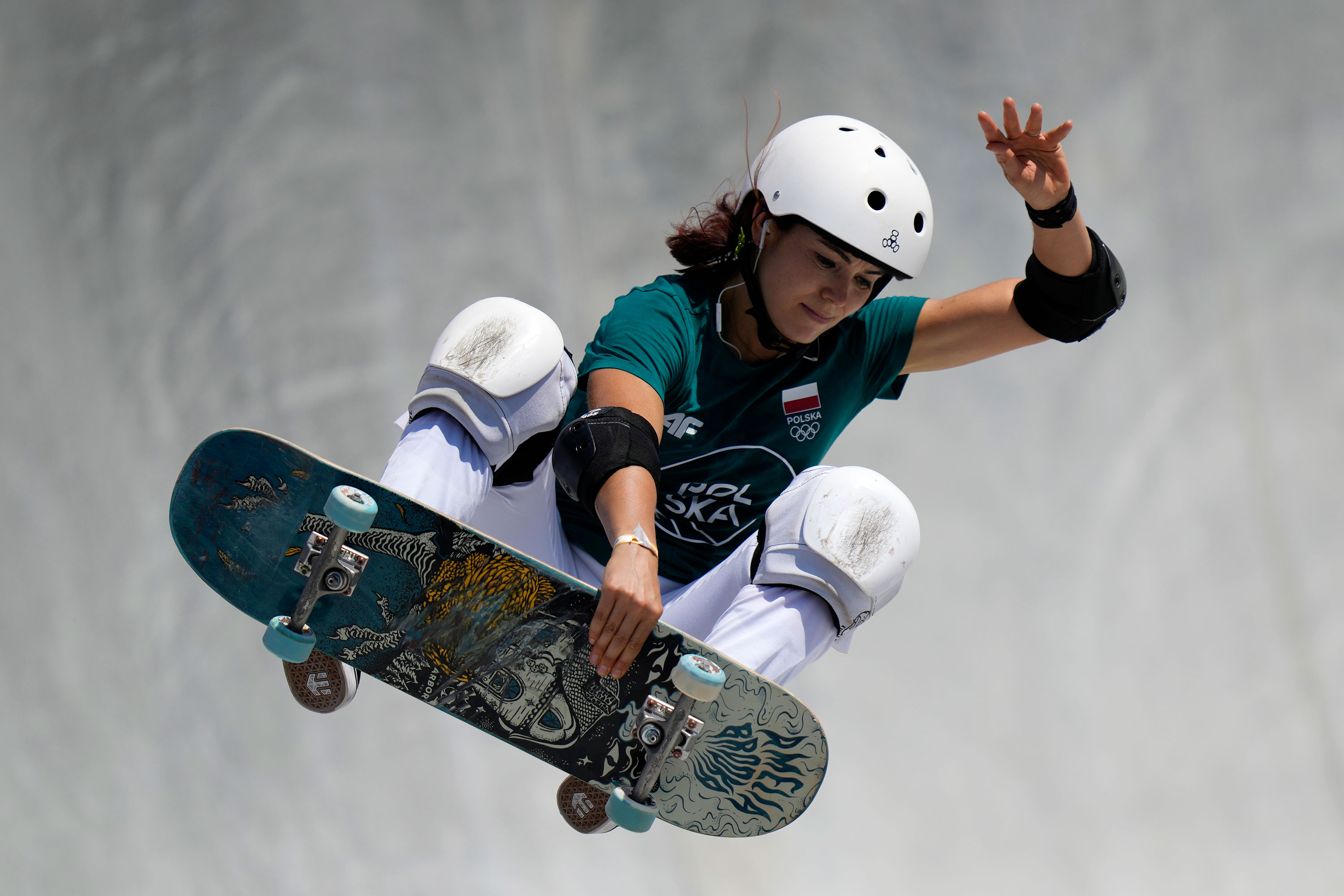 Poland's Amelia Brodka competes in the park skateboarding preliminaries on Wednesday.