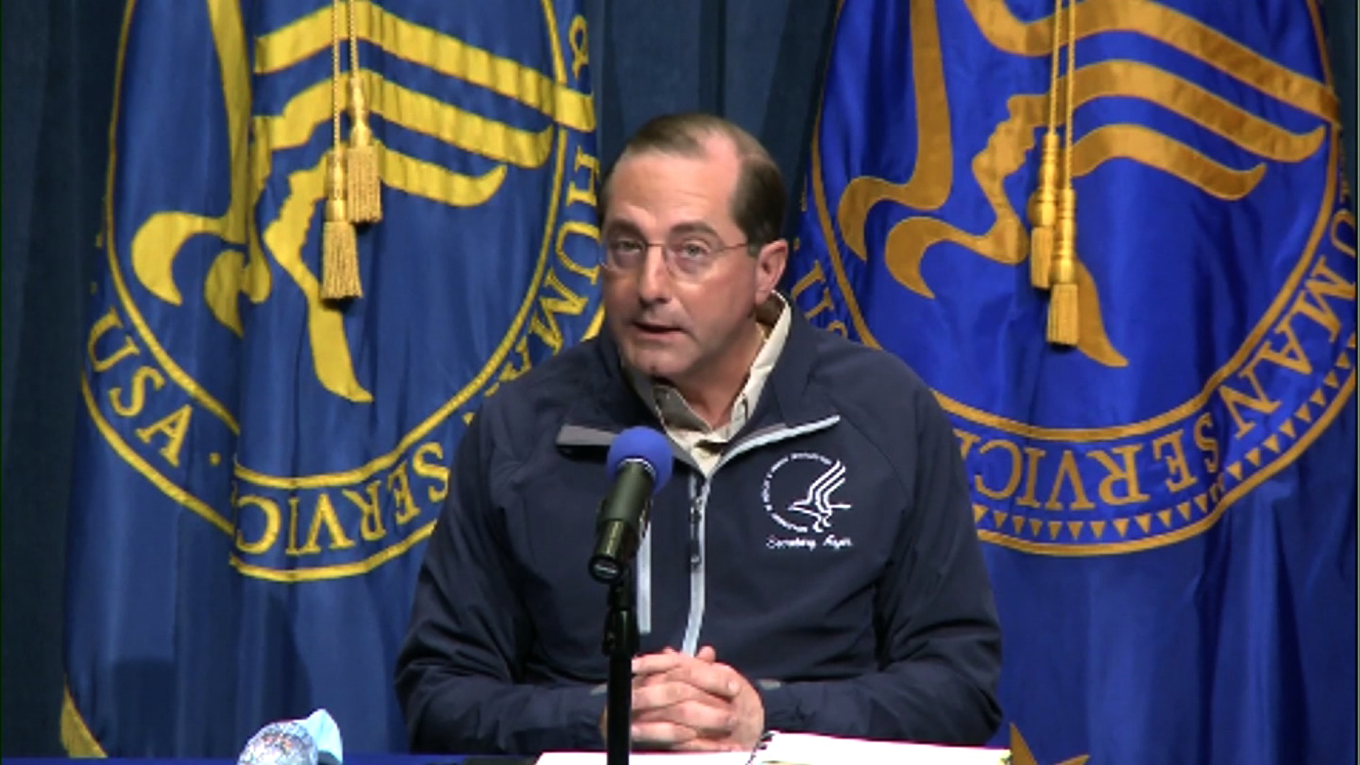Secretary of Health and Human Services Alex Azar speaks during a press briefing on December 14.
