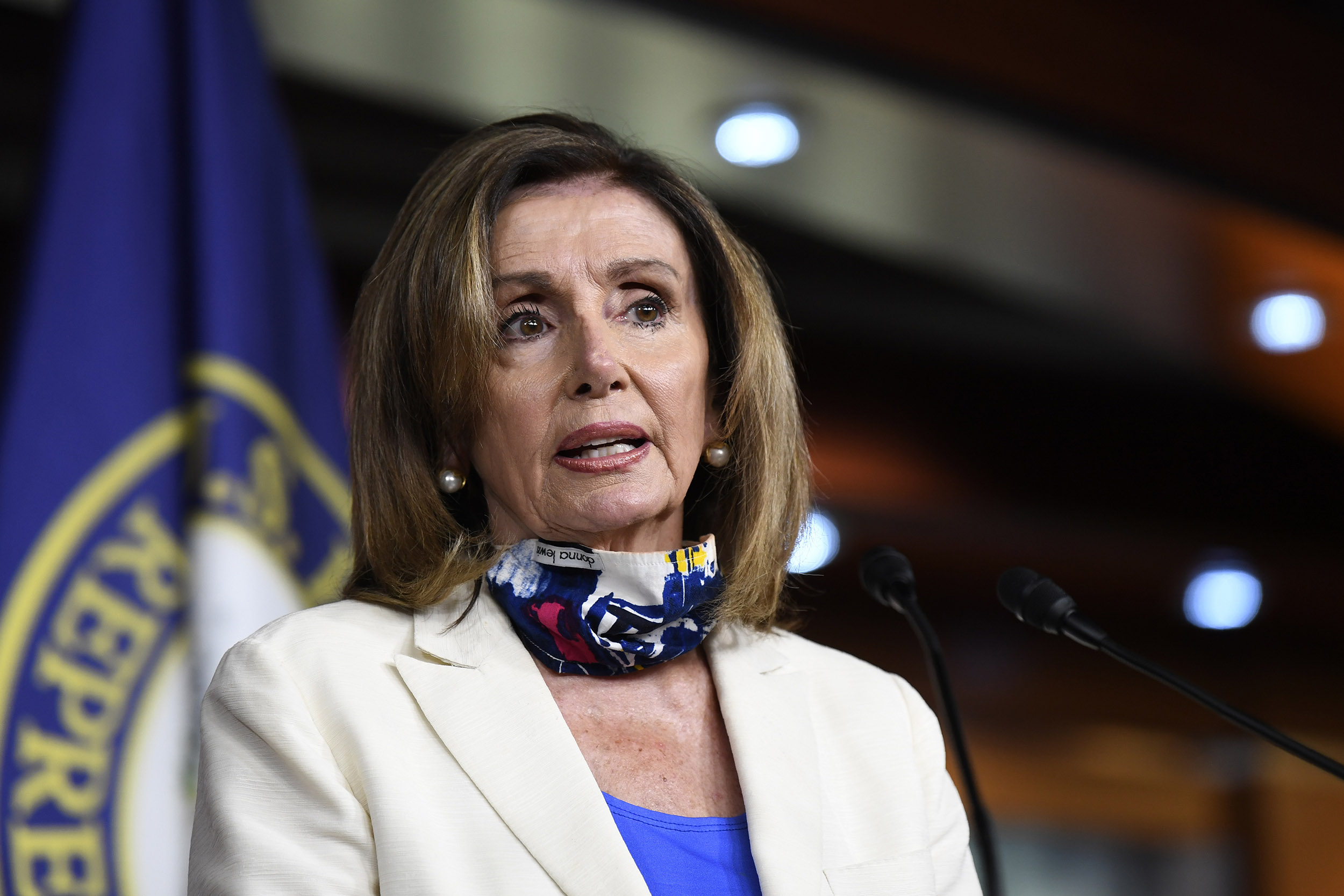 House Speaker Nancy Pelosi of California speaks during a press conference on Capitol Hill in Washington DC, on Thursday, July 16.