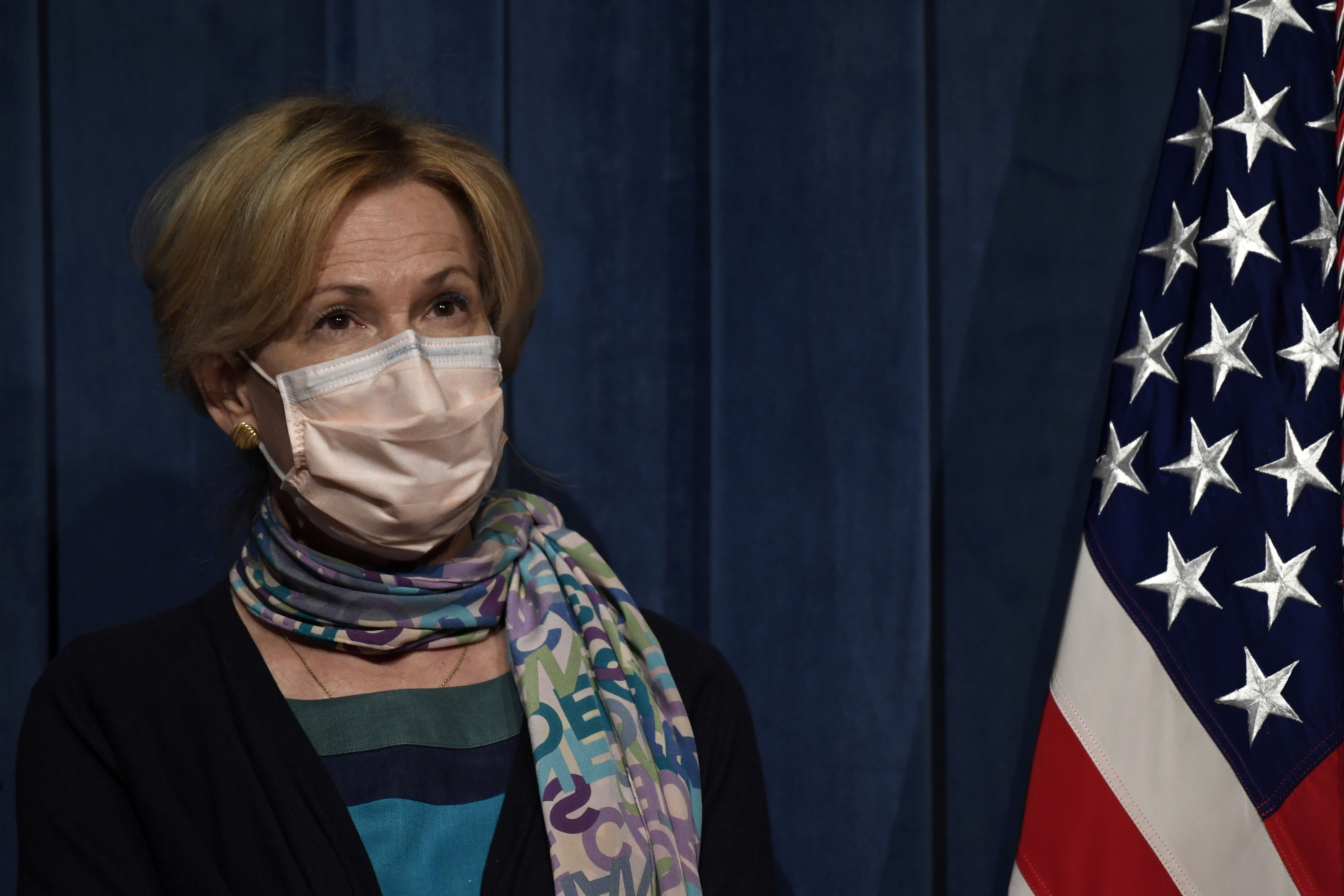 Dr. Deborah Birx, the White House coronavirus task force coordinator, listens during a coronavirus briefing in Washington, DC, on June 26.