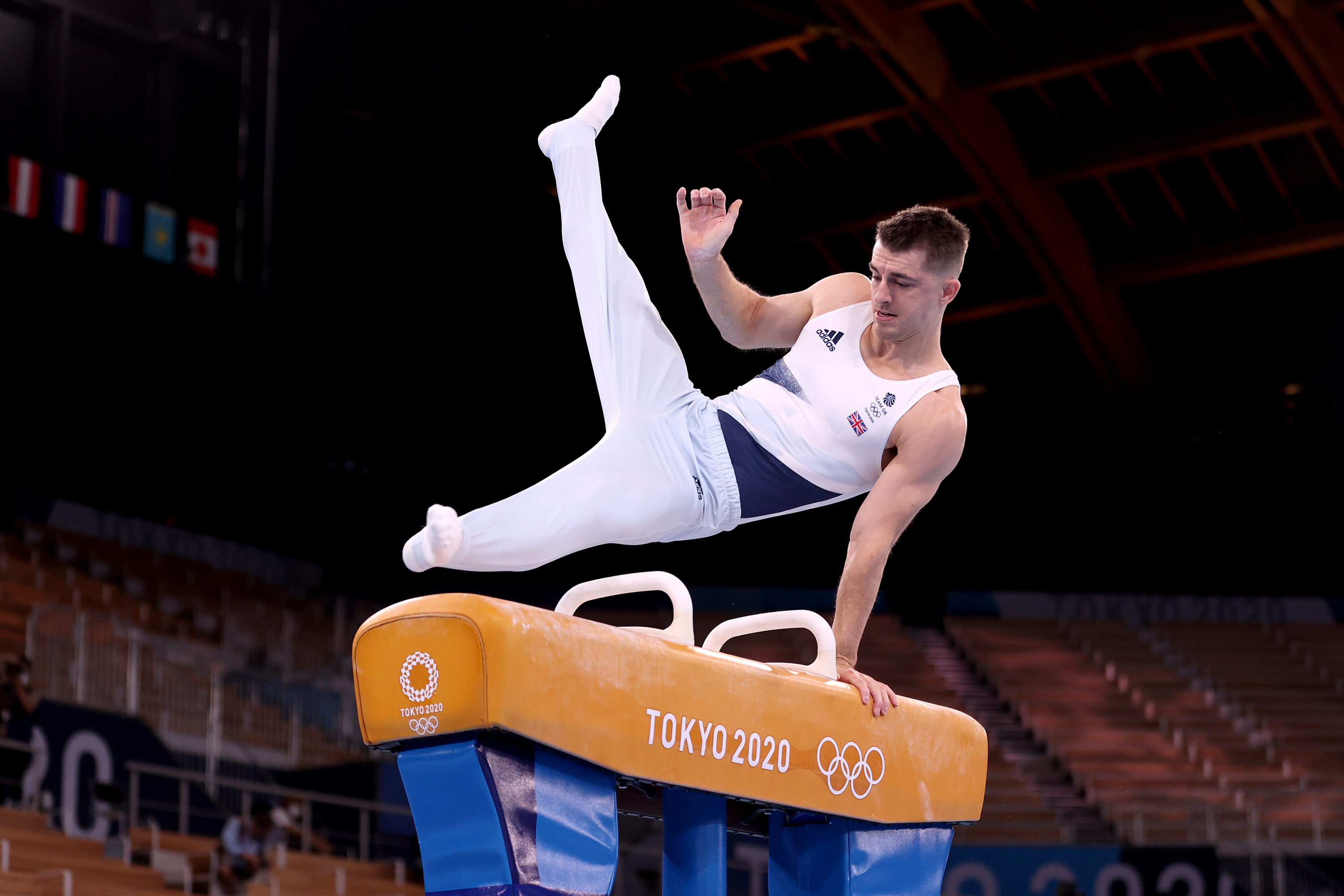 Great Britain's Max Whitlock competes in the pommel horse final on August 1.