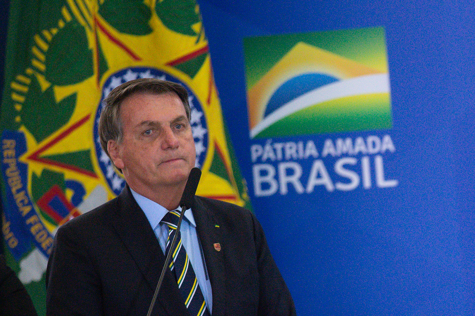 President of Brazil Jair Bolsonaro speaks at the Planalto Palace in Brasilia, Brazil on June 17.