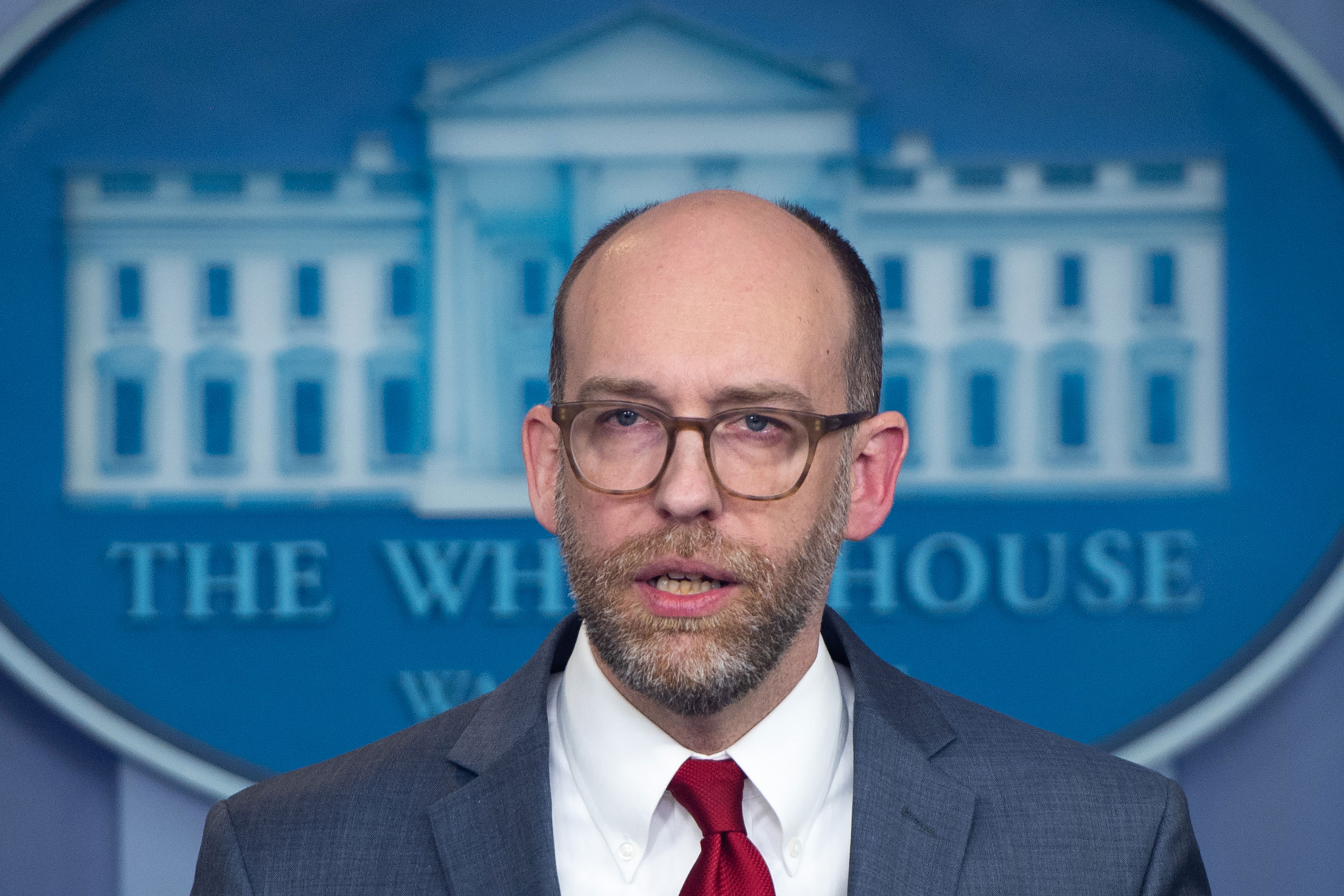 Russell Vought, Acting Director of the Office of Management and Budget, speaks during a press briefing at the White House on March 11, 2019.