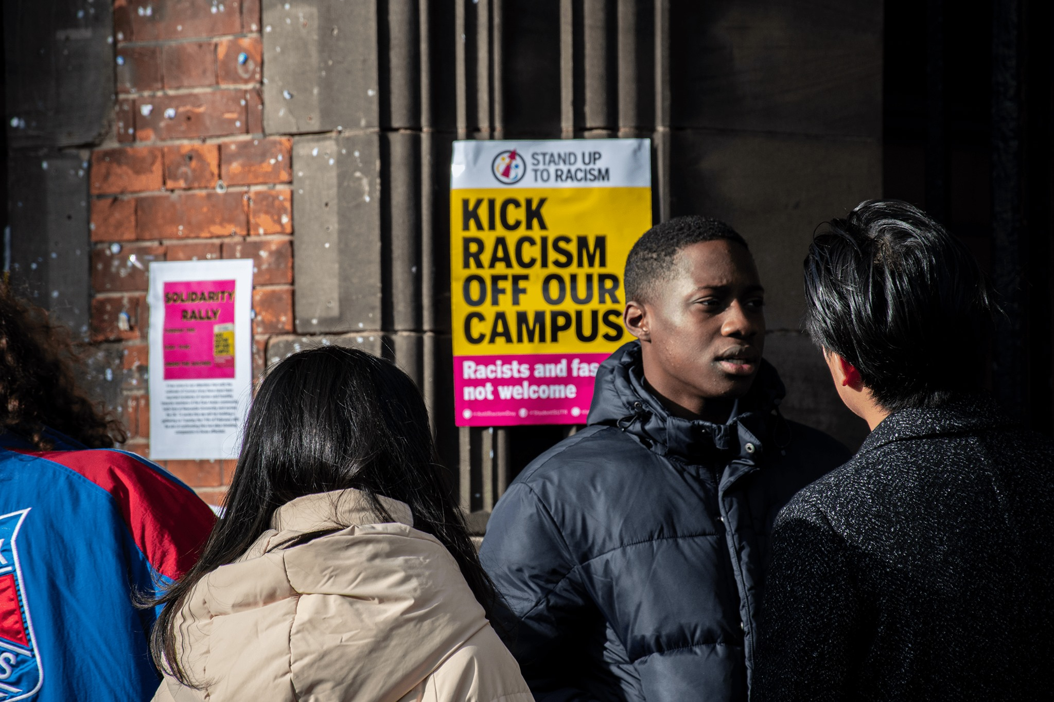 Students at the 'Stand Up To Racism' rally at Newcastle University on Tuesday.