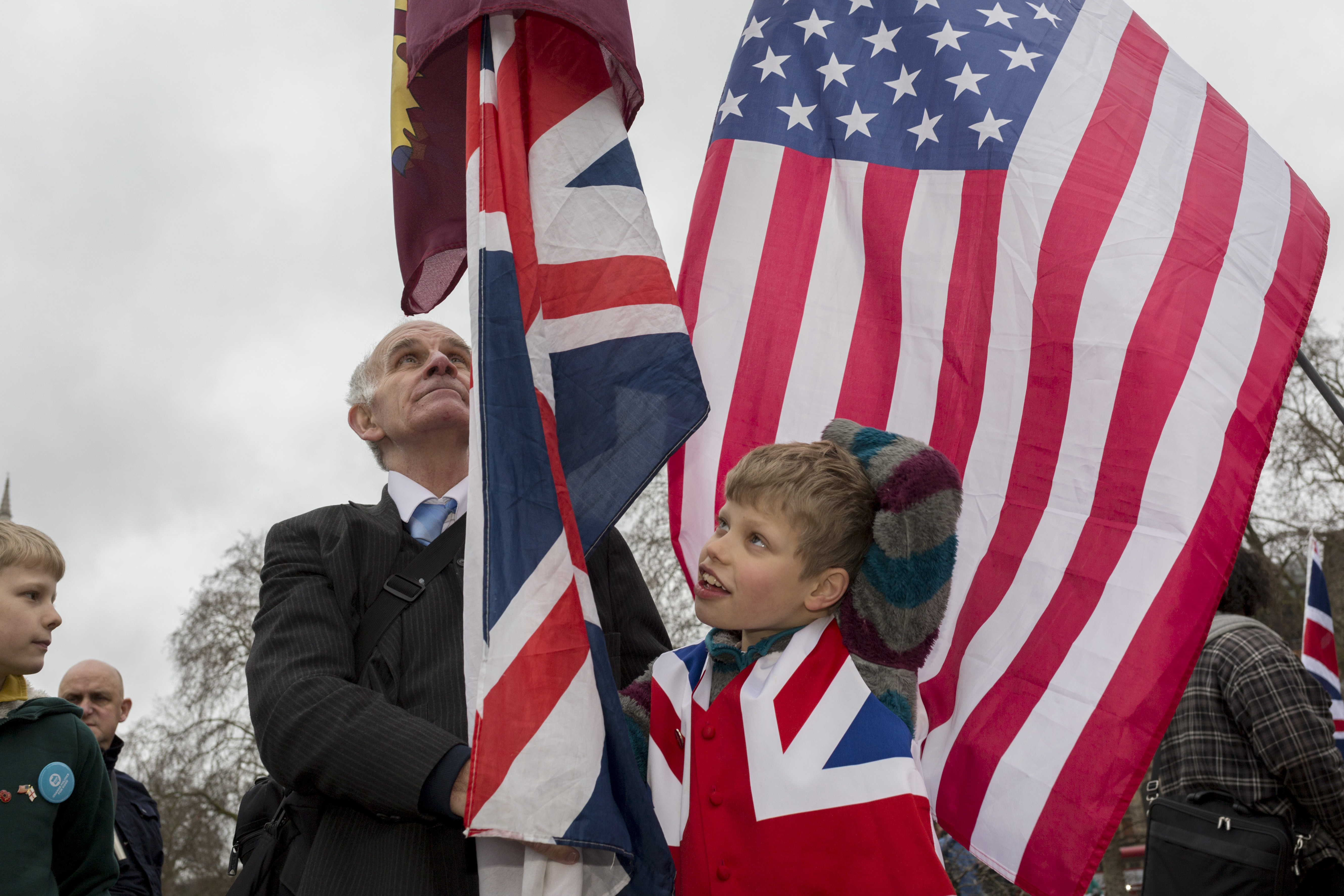 A young Brexiteer celebrates in Westminster on Friday.