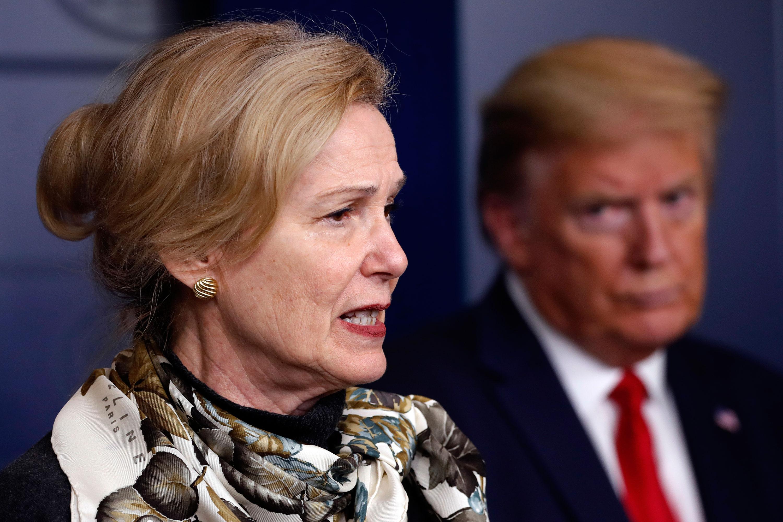 Dr. Deborah Birx speaks during the daily coronavirus briefing at the White House on April 22, in Washington.