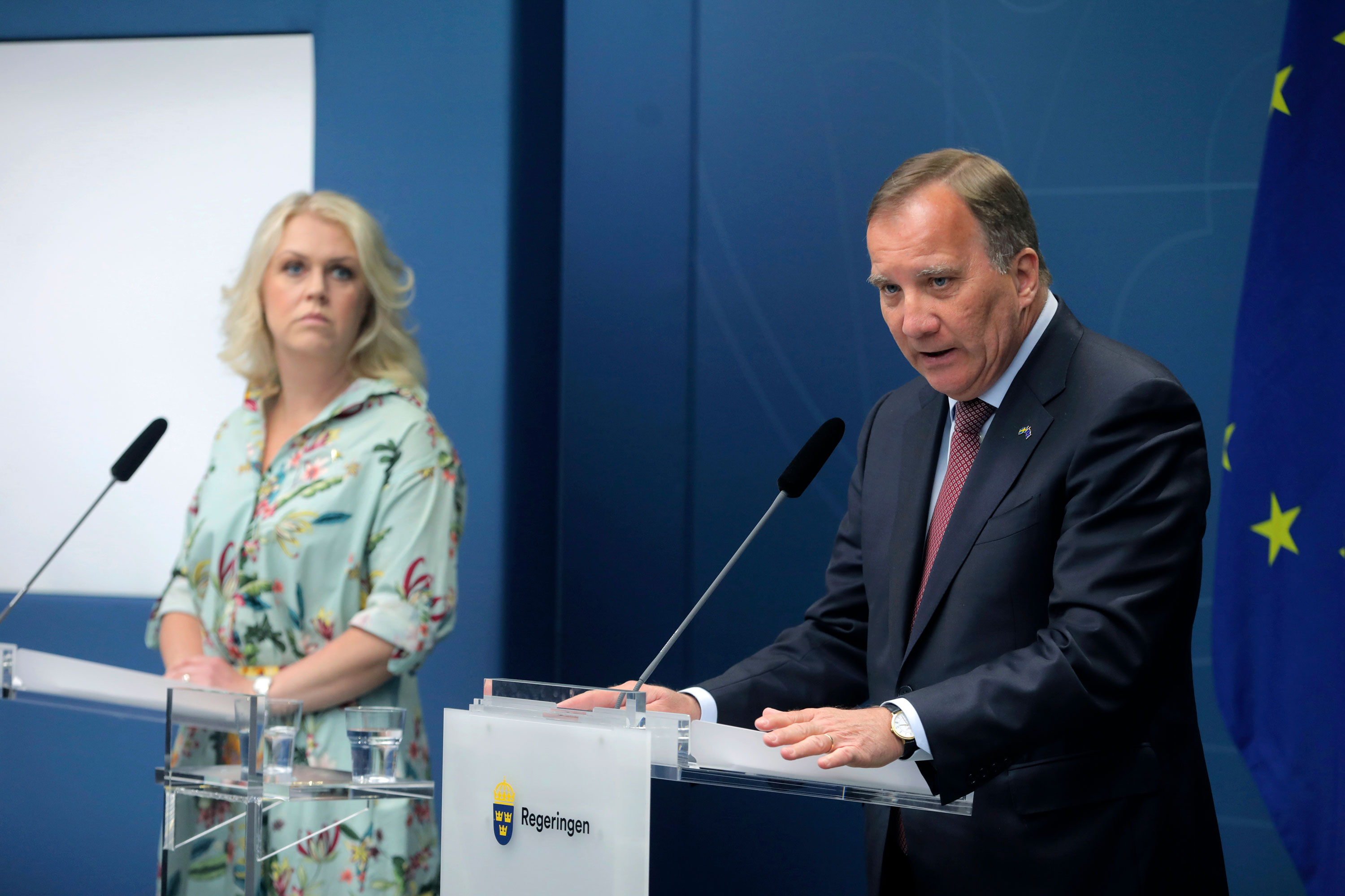 Sweden's Prime Minister Stefan Lofven, right, hold a news conference with Social Minister Lena Hallengren, in the Government Offices in Stockholm, Sweden, on June 4.