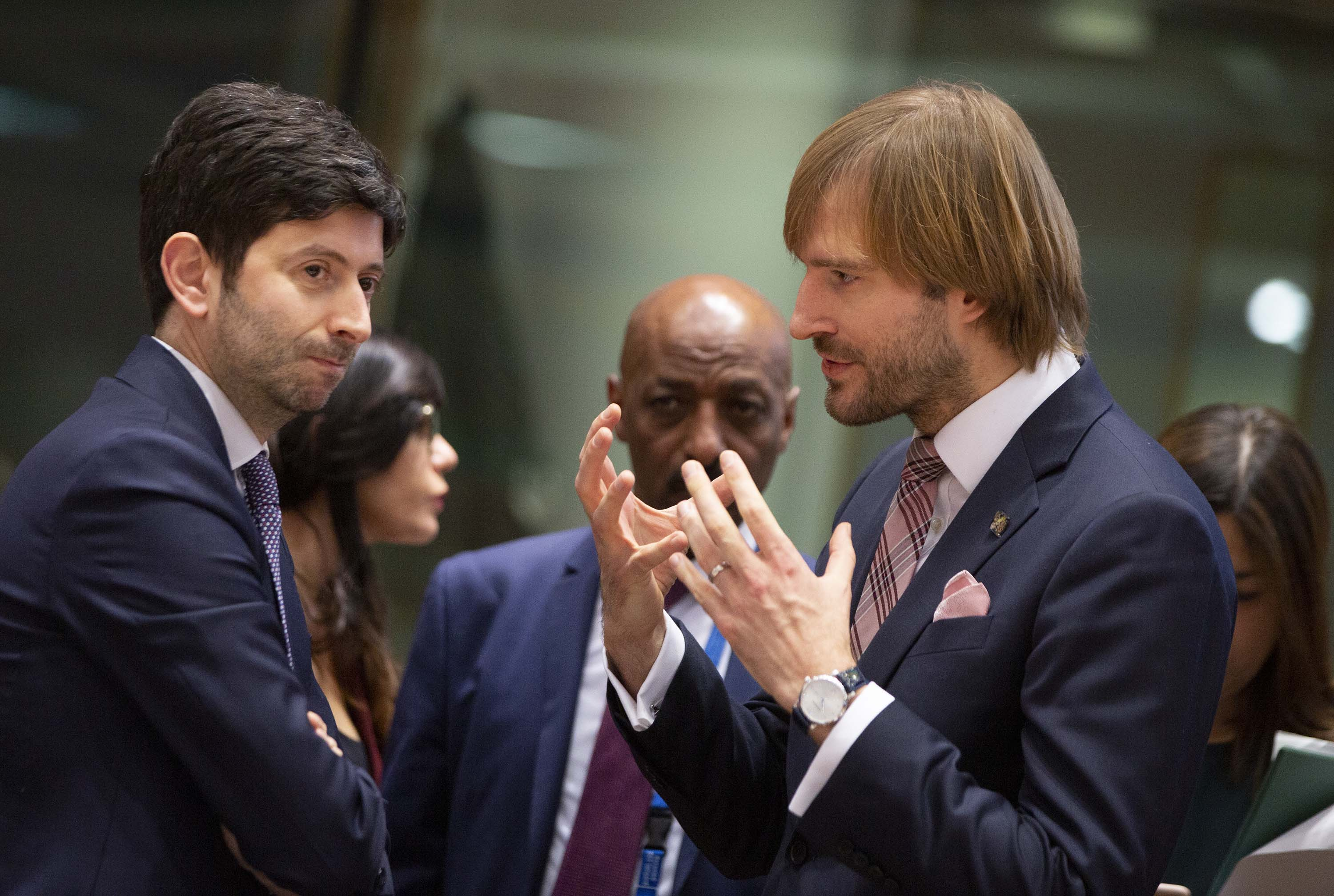 The Czech health minister Adam Vojtěch, right, speaks with Italian health minister Roberto Speranza during an extraordinary meeting of EU health ministers in Brussels, Belgium, on Friday, to discuss the coronavirus outbreak.