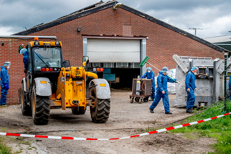 Workers wearing personal protective equipment prepare to clean and disinfect a mink company  in Ospel, Netherlands, on July 10.