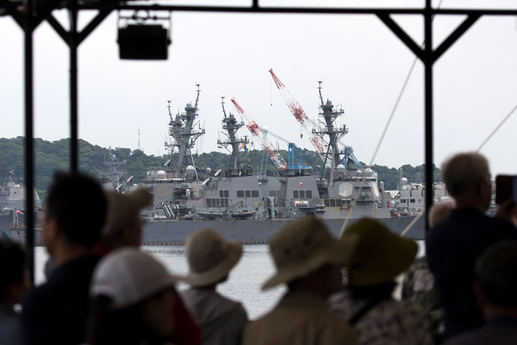 The USS John S. McCain destroyer is moored at the Yokosuka naval base on June 01, 2019 in Yokosuka, Japan.