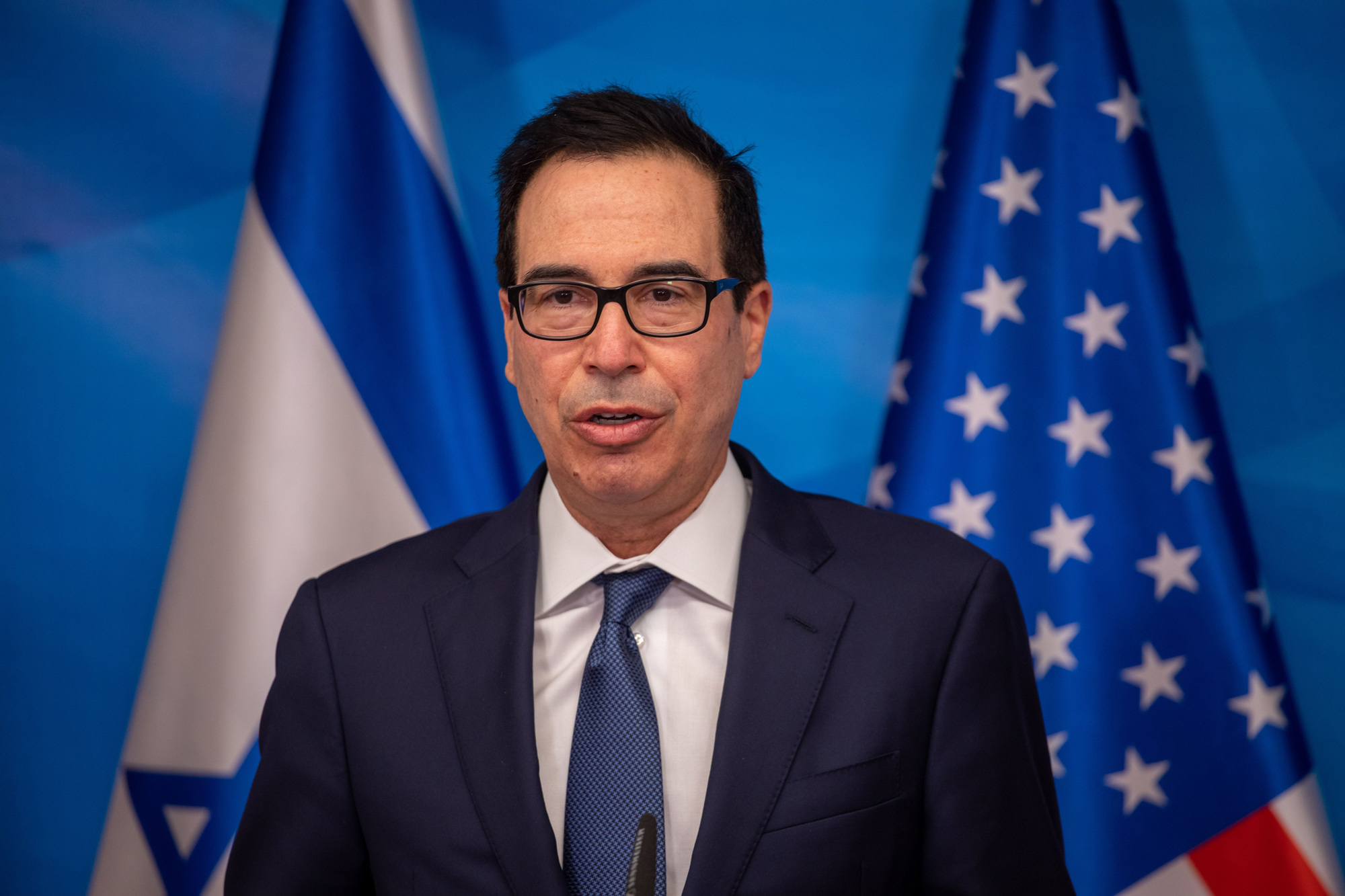 Treasury Secretary Steven Mnuchin gives a statement following his meeting meeting with the Israeli prime minister in Jerusalem, on January 7.