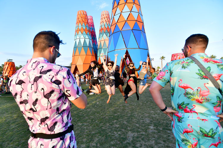 Festivalgoers are seen during the 2019 Coachella Valley Music And Arts Festival on April 20, 2019 in Indio, California.