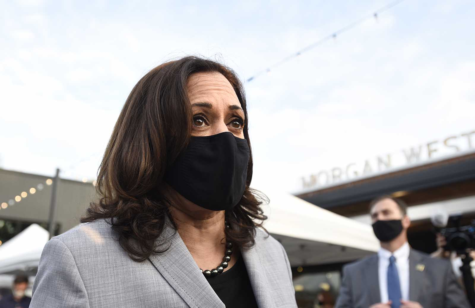 Democratic vice presidential nominee, Sen. Kamala Harris surprises guests at Trophy Brewing on September 28 in Raleigh, North Carolina.