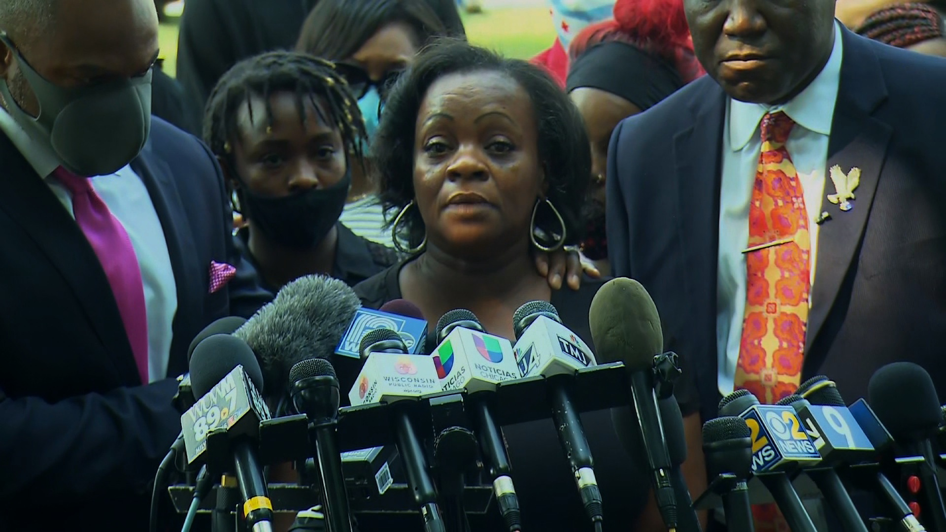 Julia Jackson, Jacob Blake's mother, speaks during a press conference in Kenosha, Wisconsin, on August 25.