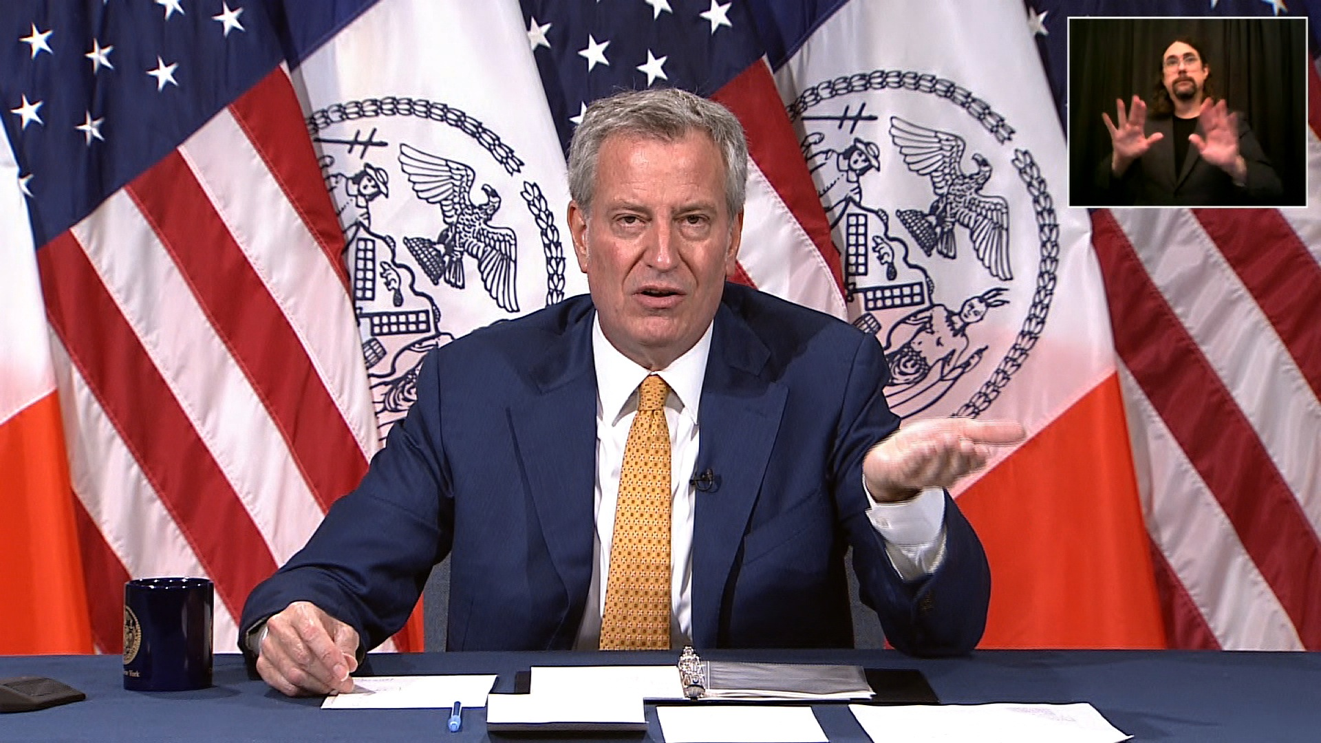 New York City Mayor Bill de Blasio speaks during a press conference in New York on July 8.