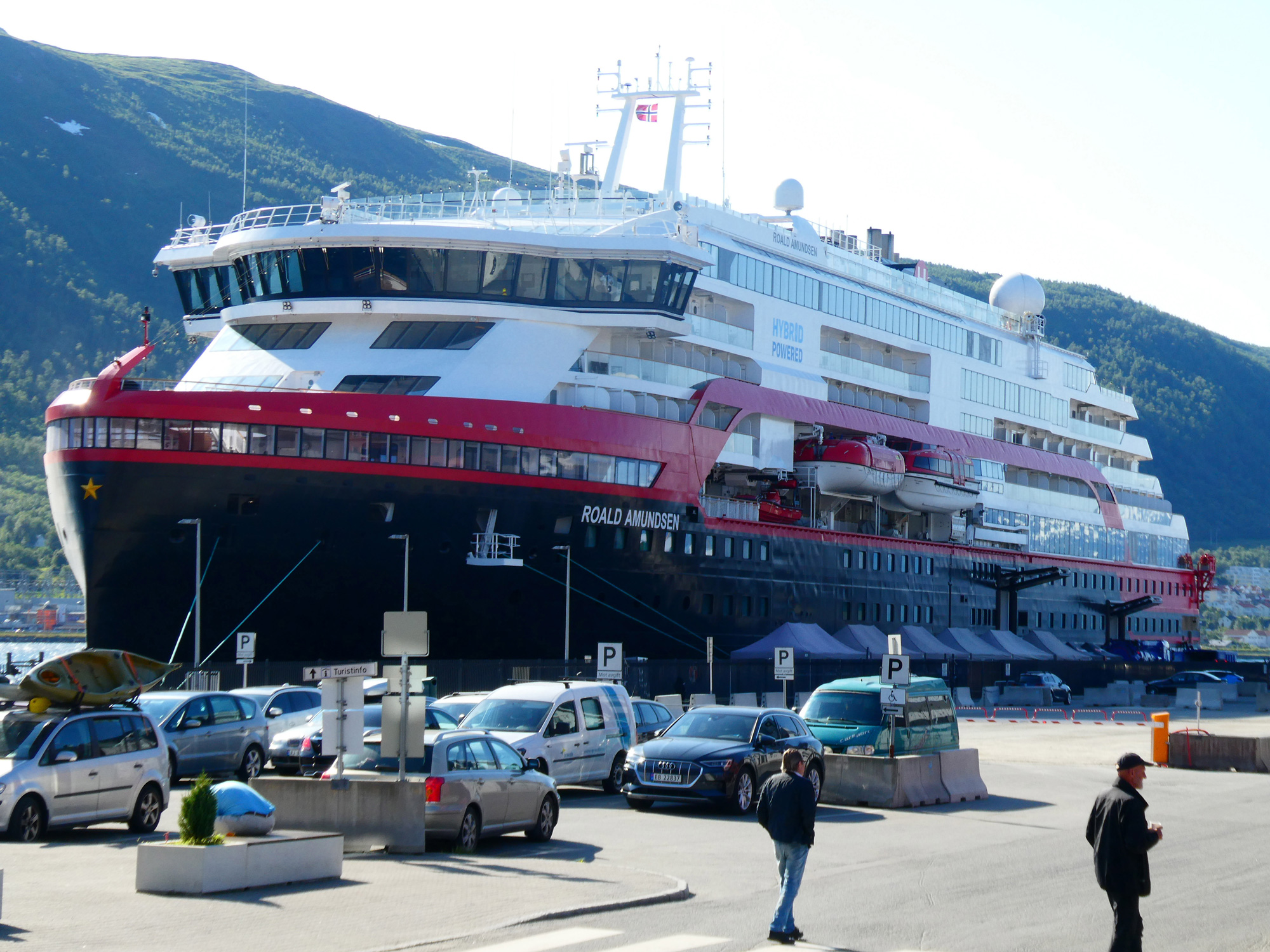 The MS Roald Amundsen is docked in Tromsö, Norway, on July 31.