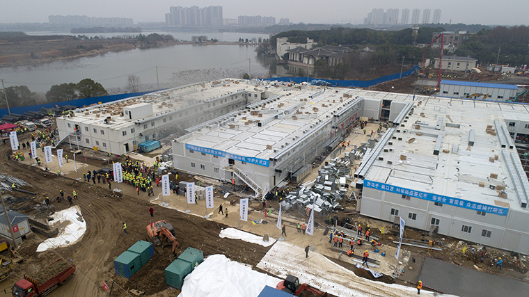 The Huo Shen Shan hospital, built in 10 days for new coronavirus pneumonia patients, seen on Febrary 2, in Wuhan, Hubei,China.