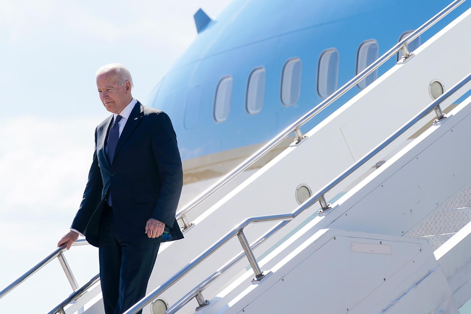 President Joe Biden steps off Air Force One at Geneva Airport in Geneva, Switzerland, on Tuesday, June 15.