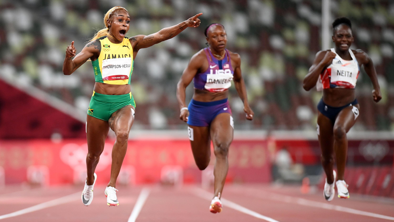 Jamaica's Elaine Thompson-Herah wins the 100m final on July 31.