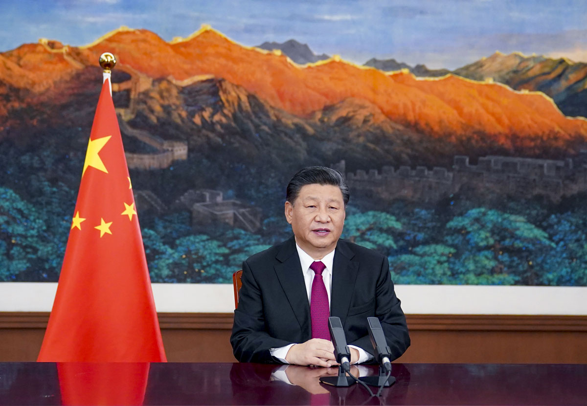 Chinese President Xi Jinping delivers a special address to the World Economic Forum on January 25.