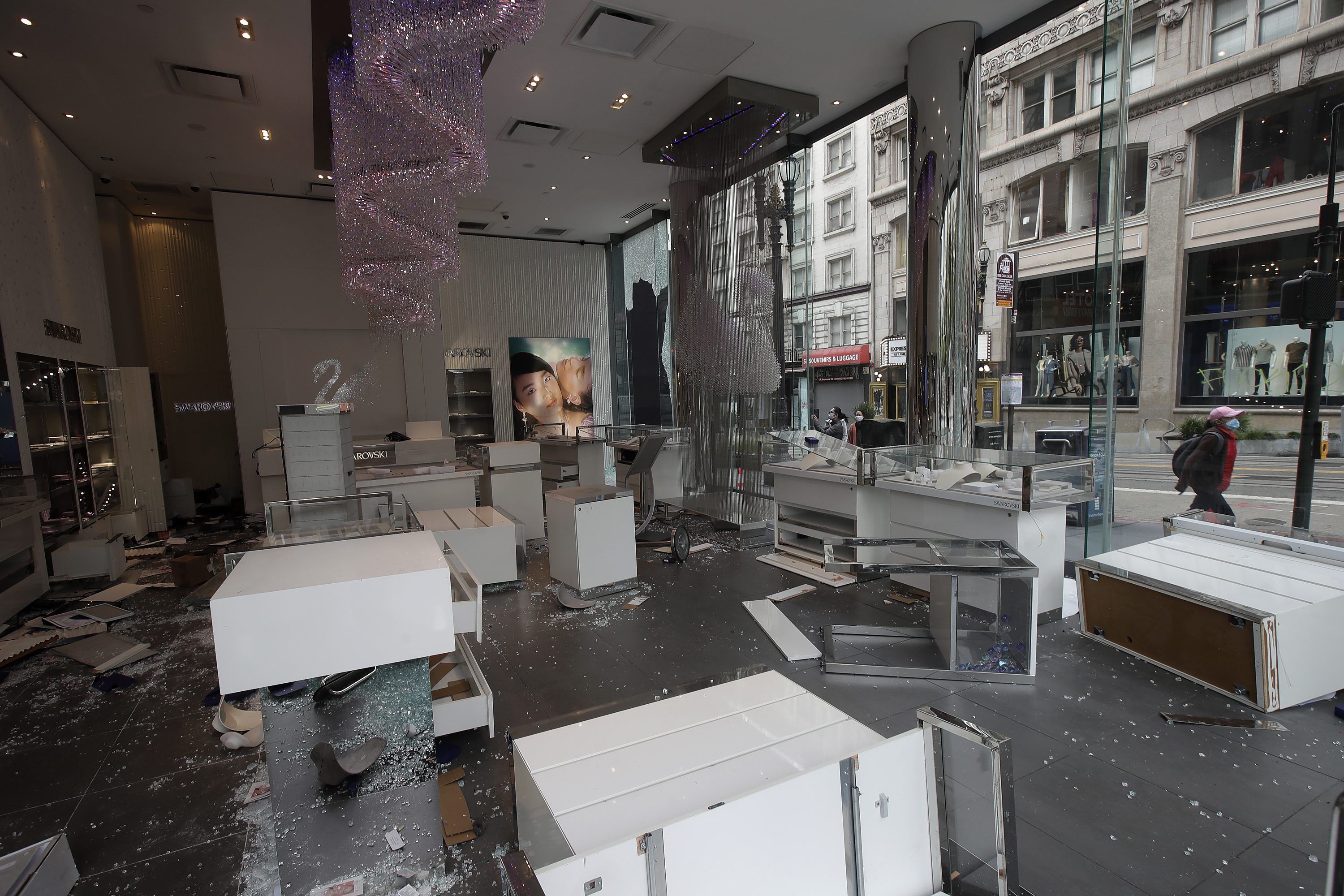 Damage is seen at a Swarovski store in San Francisco on May 31.